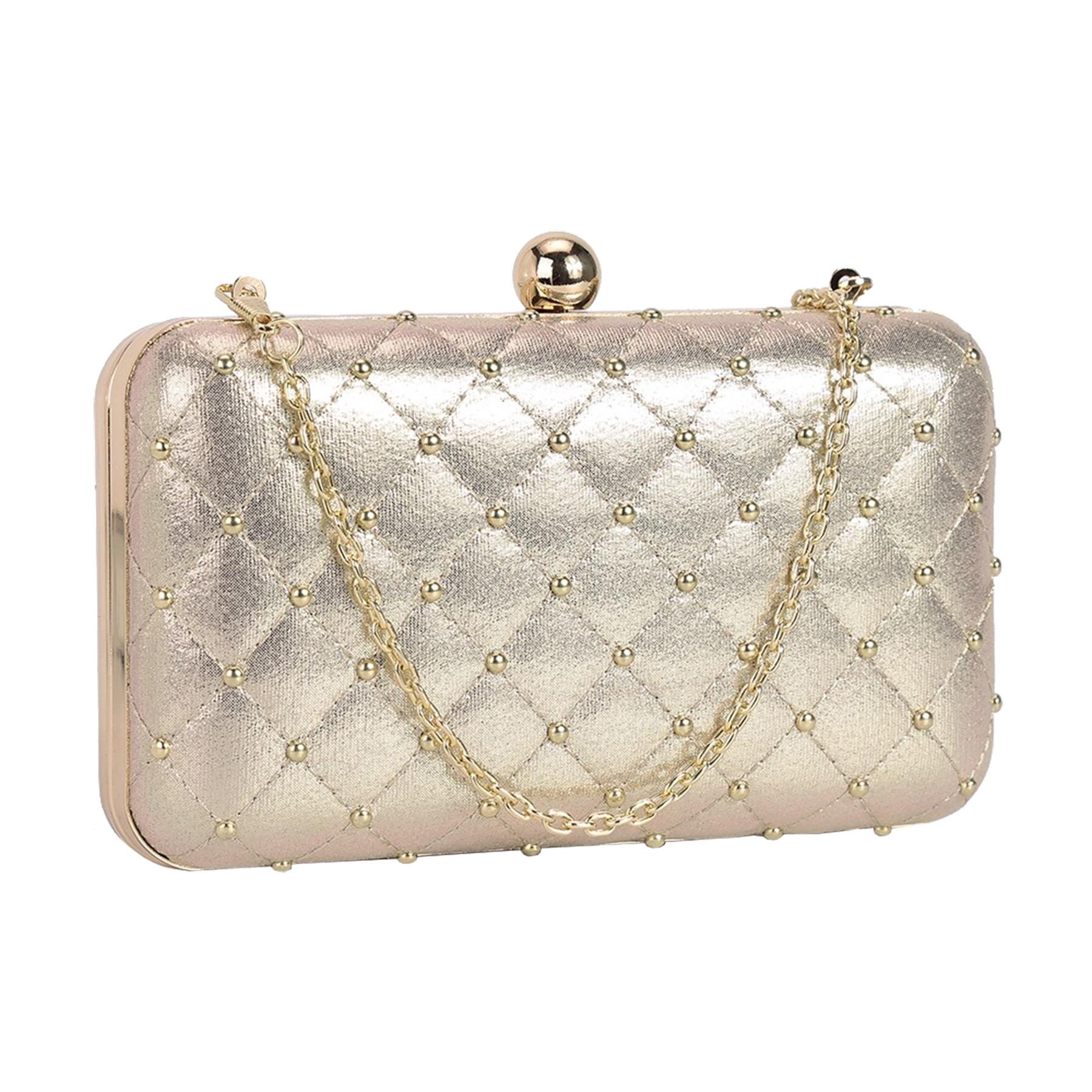 New-Women-s-Quilted-Studded-Faux-Leather-Party-Bridal-Prom-Box-Clutch-Bag thumbnail 6