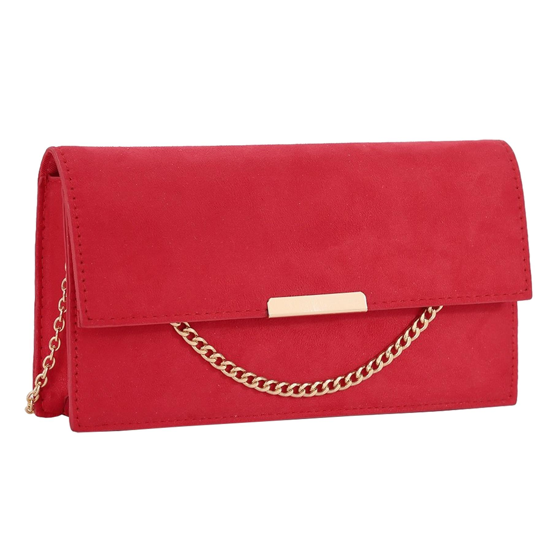 New-Synthetic-Suede-Metallic-Trim-Chain-Detail-Evening-Classic-Clutch-Bag thumbnail 12