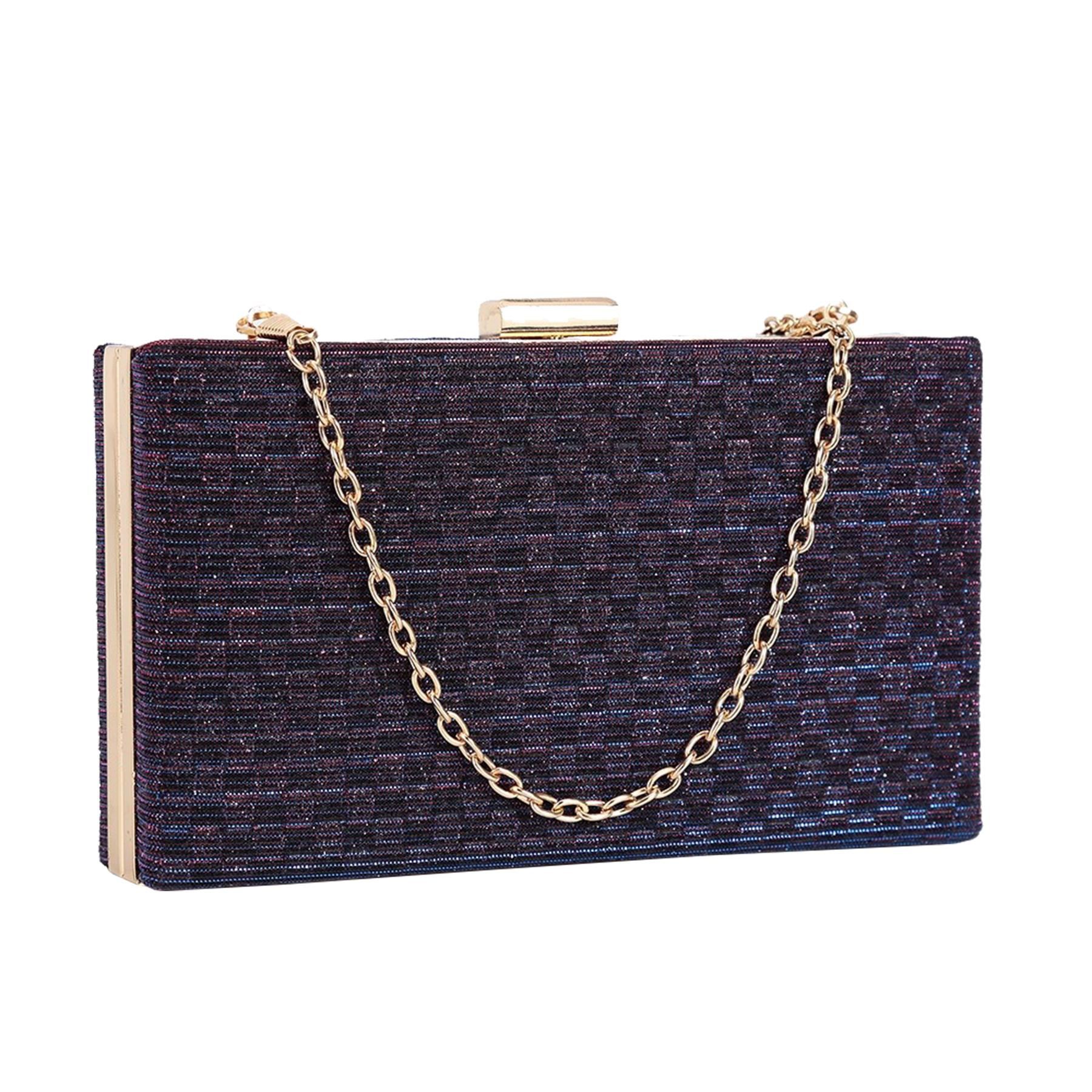 New-Sparkly-Shimmer-Glitter-Chain-Ladies-Hard-Compact-Bridal-Clutch-Bag-Purse thumbnail 12