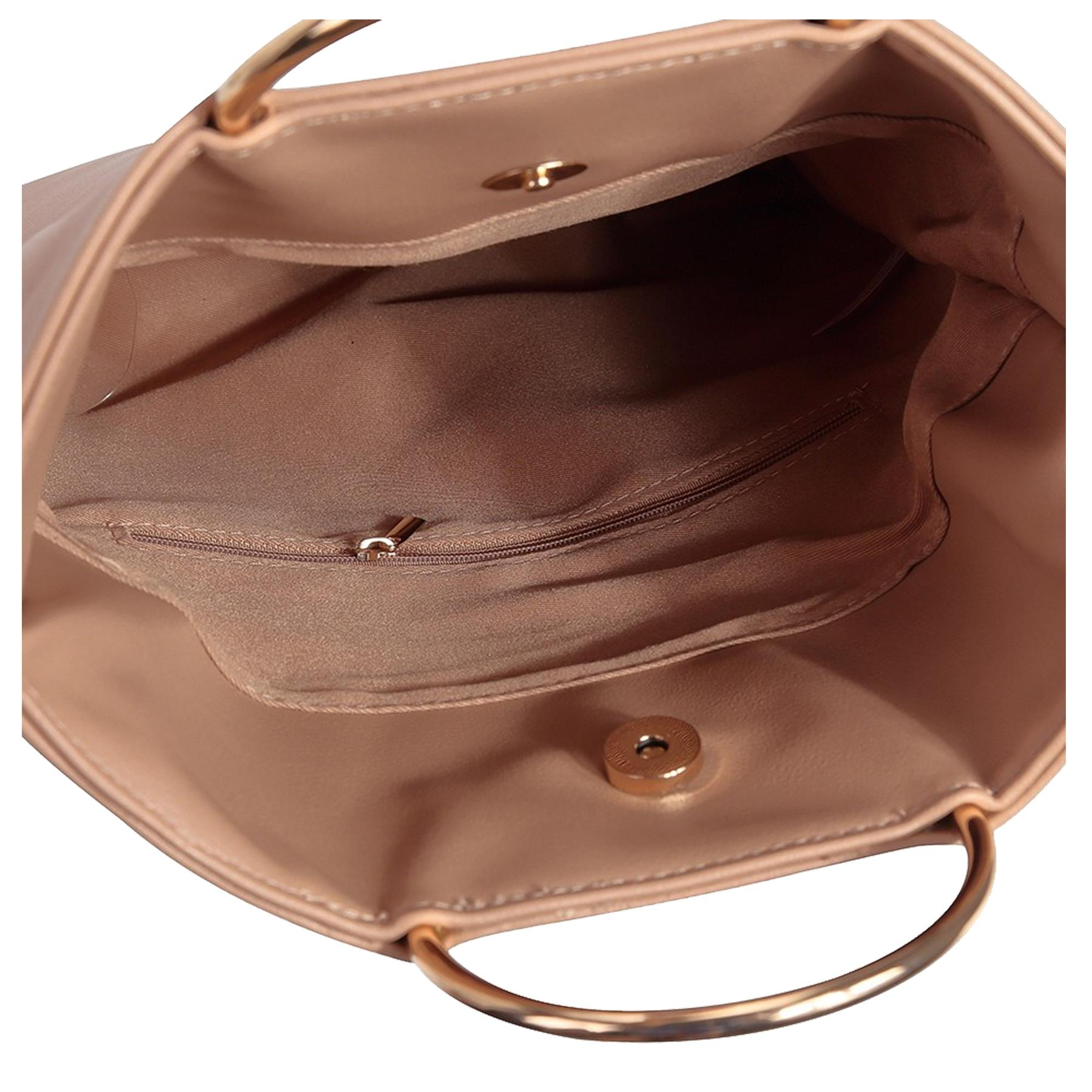 New-Women-s-Metallic-Ring-Top-Handles-Faux-Leather-Evening-Clutch-Bag thumbnail 13