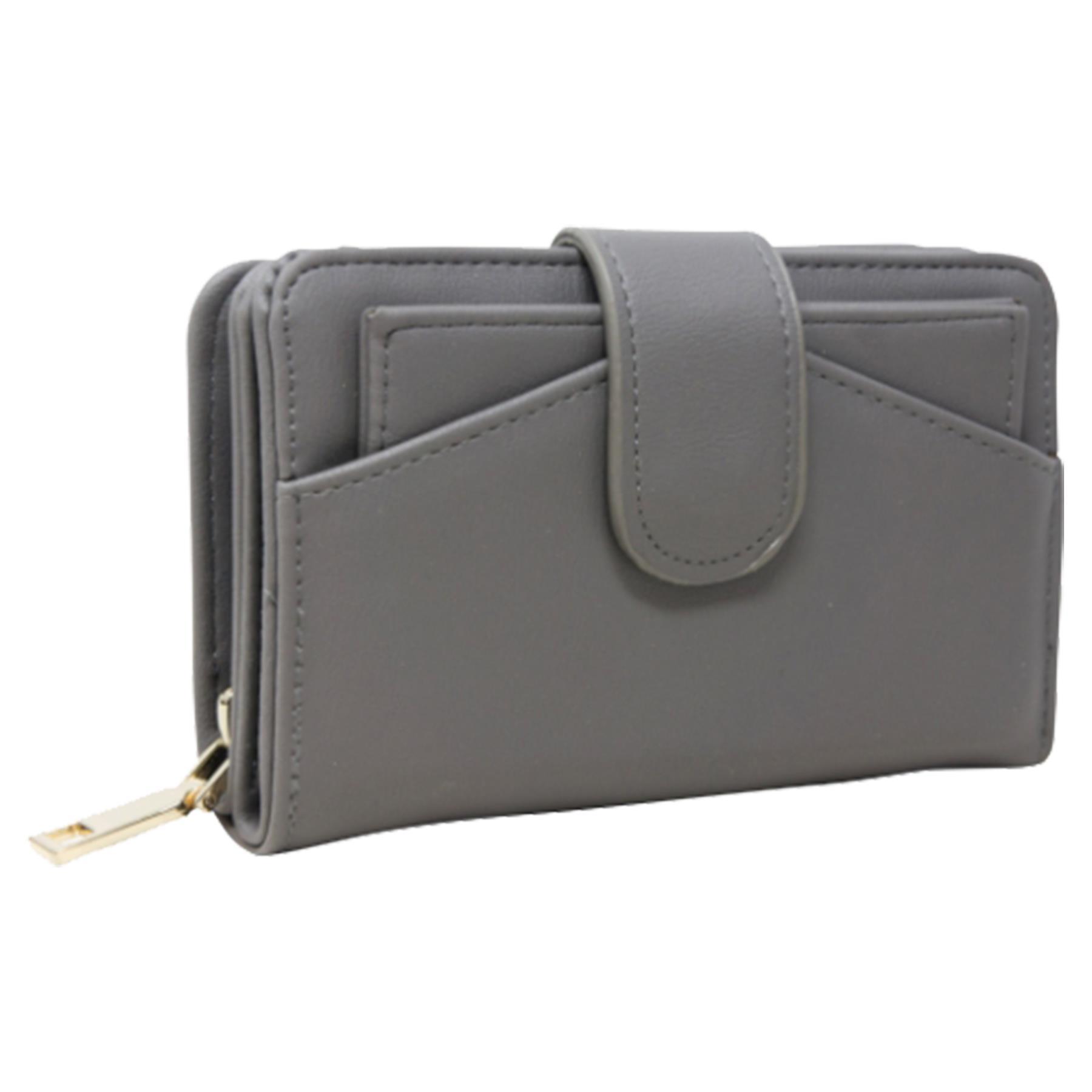 New-Ladies-Card-Slots-Zipped-Pocket-Faux-Leather-Basic-Wallet-Purse thumbnail 14