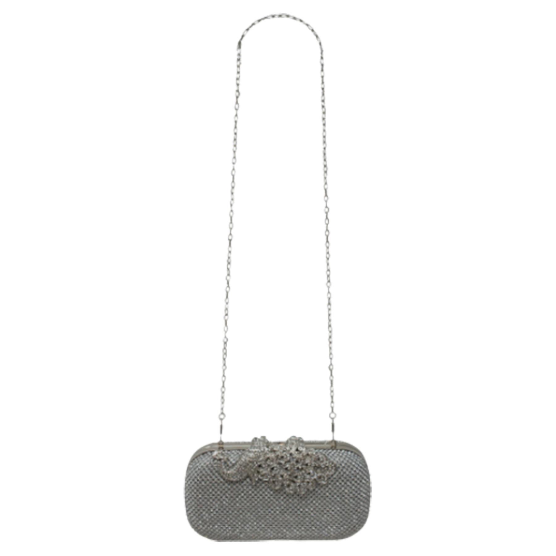 New-Women-s-Jewel-Elephant-Detail-Diamante-Chain-Box-Clutch-Bag-Purse thumbnail 16