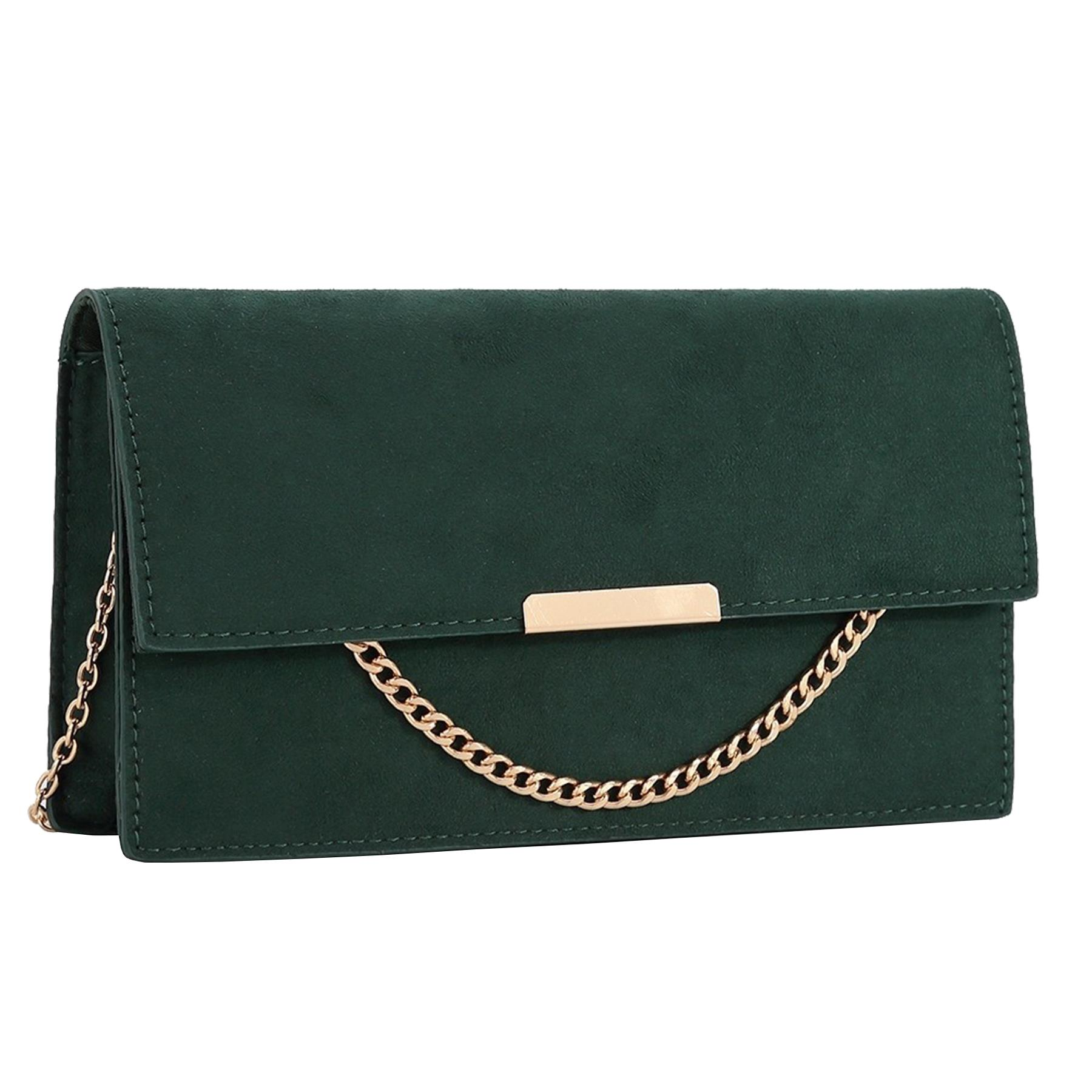 New-Synthetic-Suede-Metallic-Trim-Chain-Detail-Evening-Classic-Clutch-Bag thumbnail 6