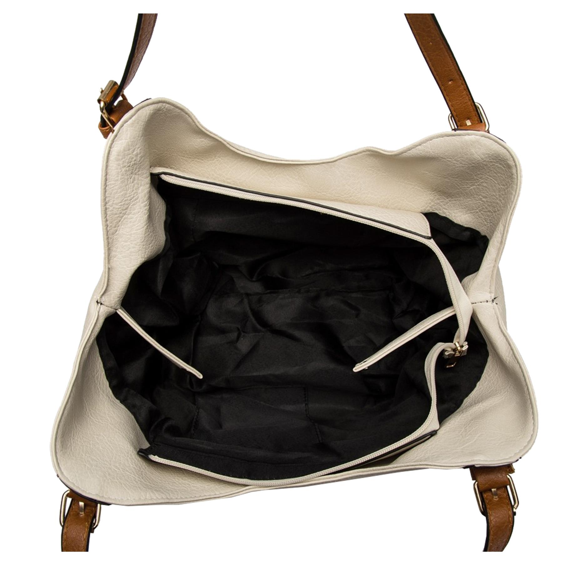 New-Ladies-Buckled-Straps-Two-Toned-Faux-Leather-Slouchy-Shoulder-Bag thumbnail 10