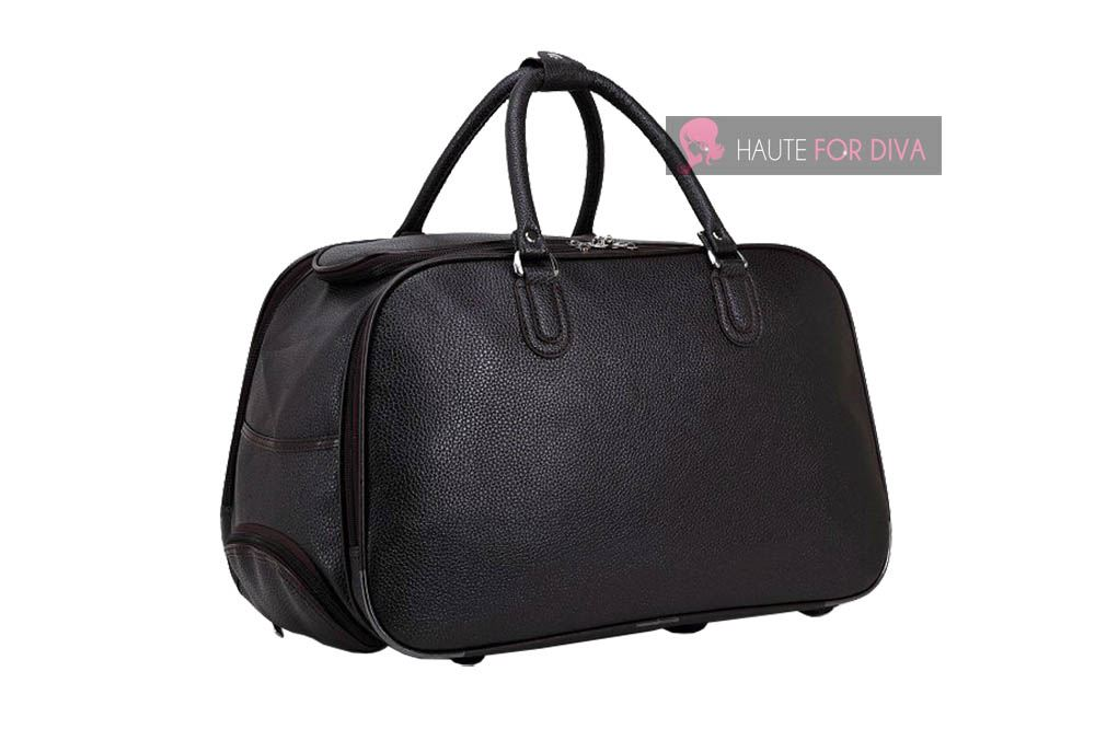 MENS WOMENS PLAIN FAUX LEATHER TRAVEL HOLDALL WHEELED SUITCASE CABIN ... 7b00b96b98