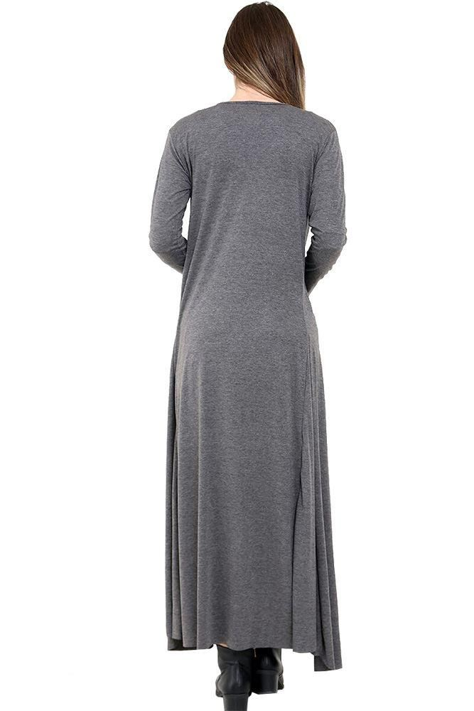donna-nuovo-manica-lunga-aperto-davanti-Svasato-Tinta-Unita-Cardigan-UK-8-22