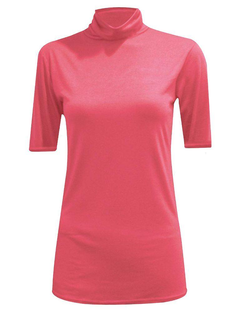 New-Women-s-Half-Sleeve-Plain-Polo-Roll-Neck-Top-Blouse-UK-8-26 thumbnail 6