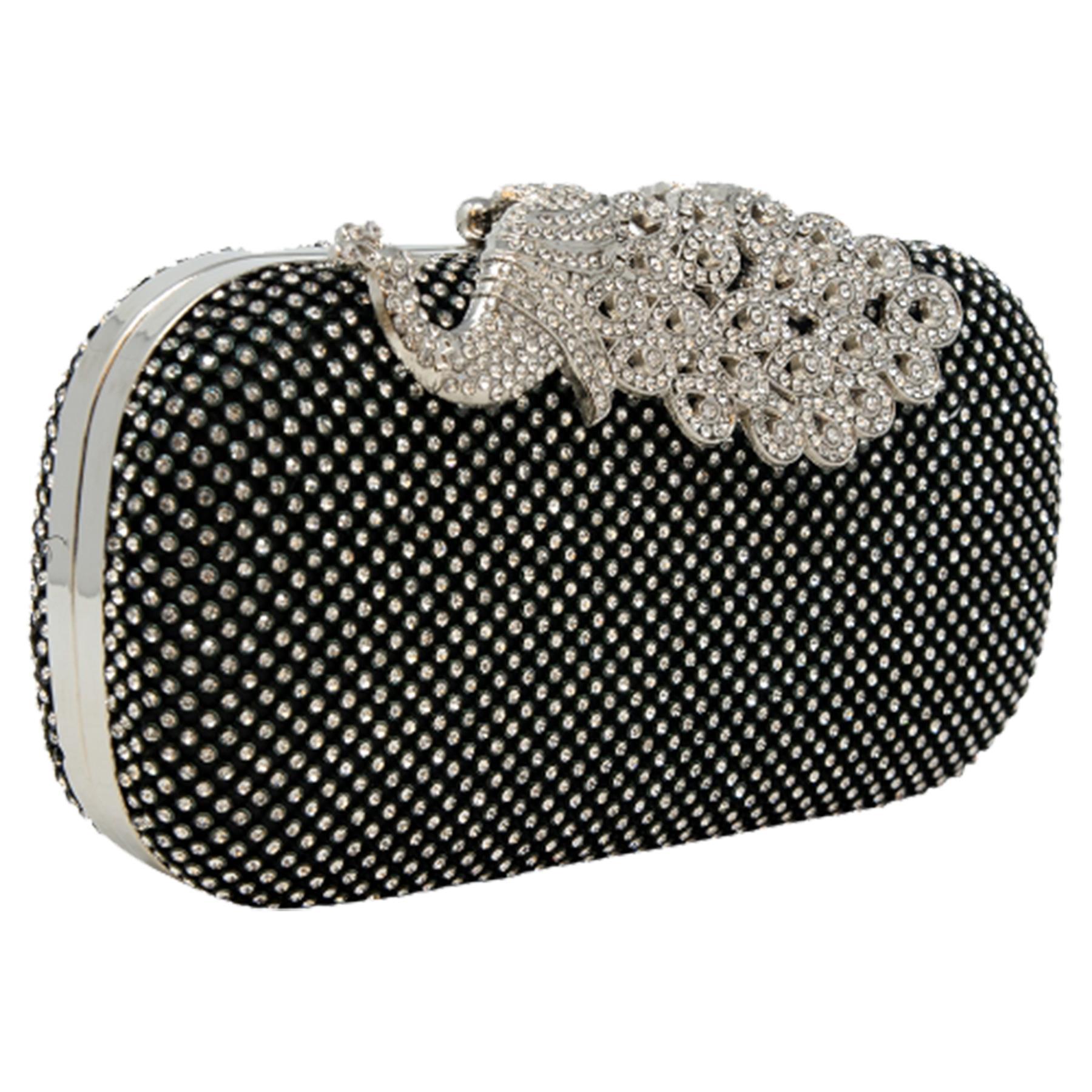 New-Women-s-Jewel-Elephant-Detail-Diamante-Chain-Box-Clutch-Bag-Purse thumbnail 3