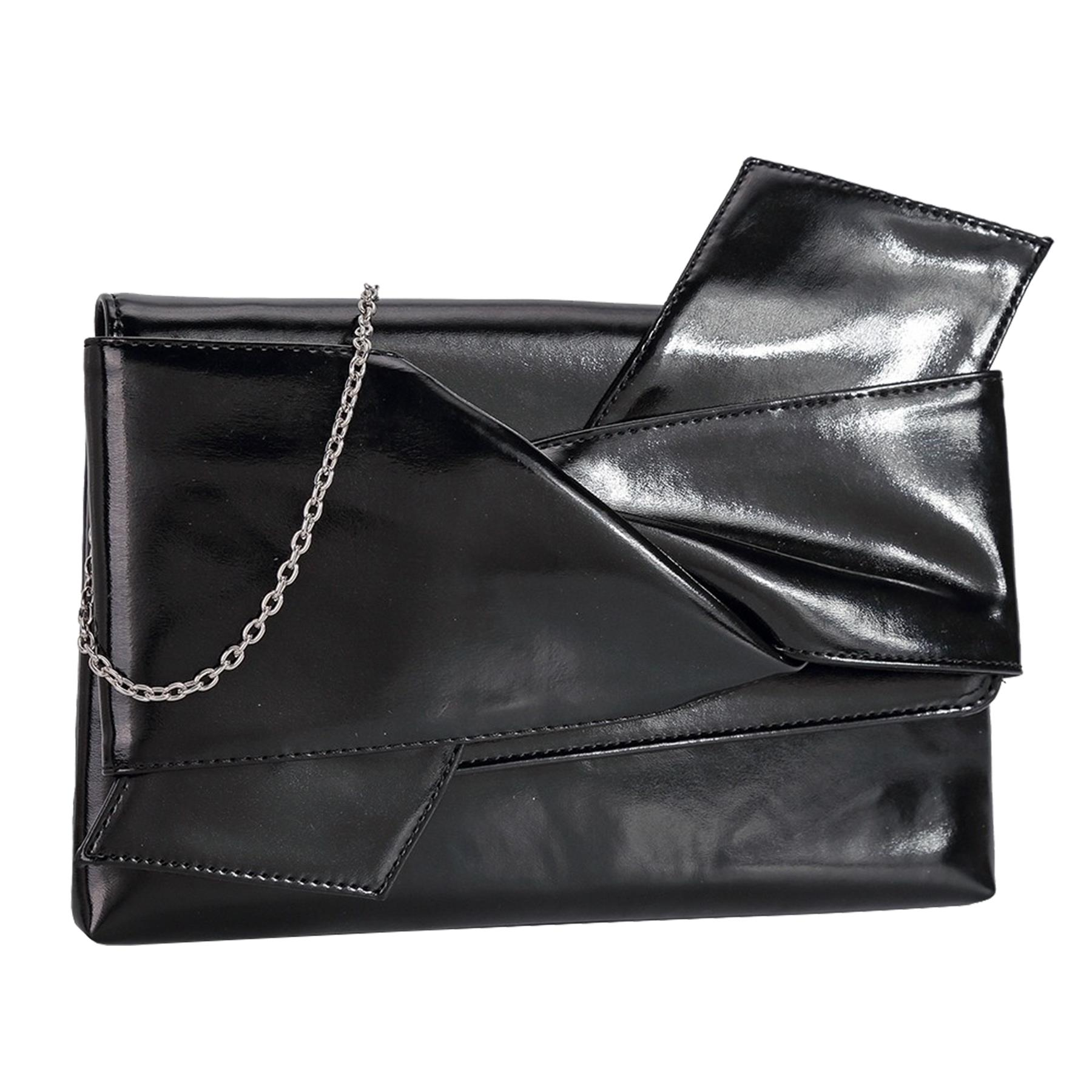 New-Knot-Detail-Shiny-Synthetic-Leather-Ladies-Party-Clutch-Bag-Purse thumbnail 3