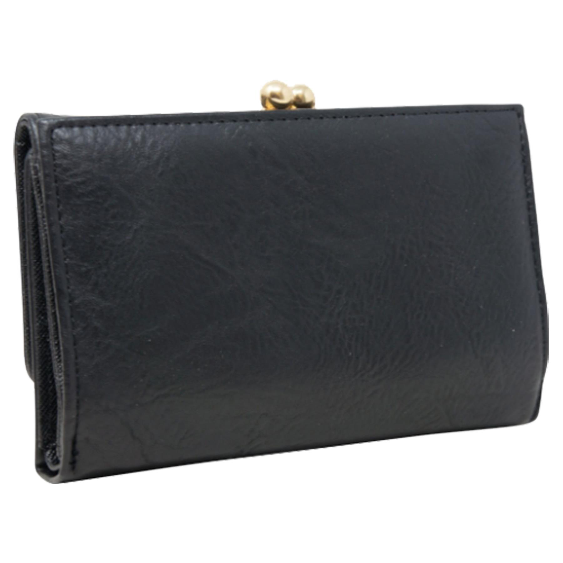 New-Synthetic-Leather-Kiss-Lock-Compartment-Ladies-Casual-Wallet-Purse thumbnail 3
