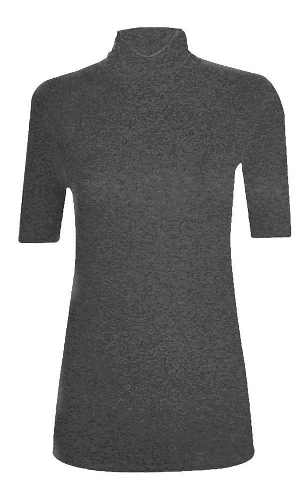 New-Women-s-Half-Sleeve-Plain-Polo-Roll-Neck-Top-Blouse-UK-8-26 thumbnail 5