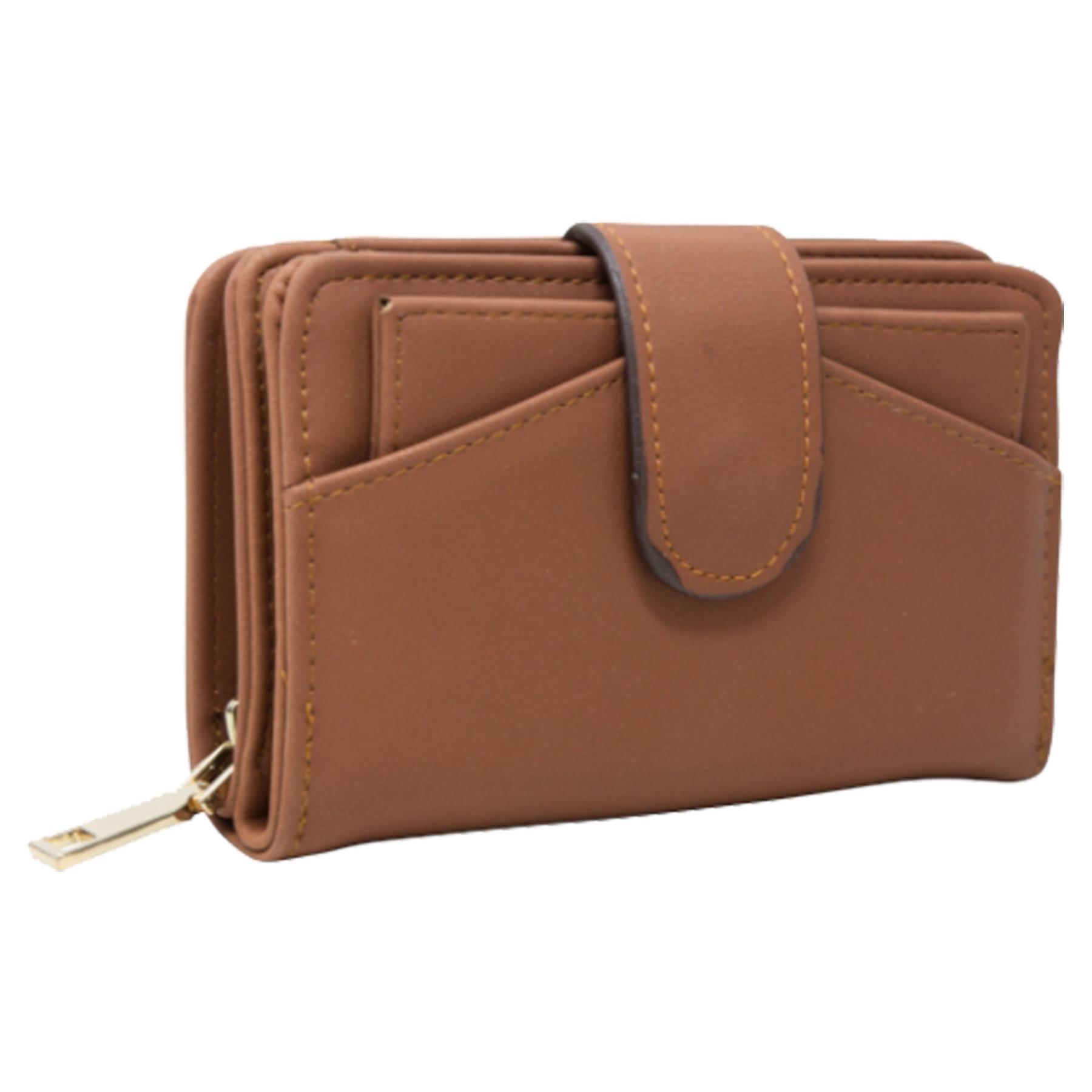 New-Ladies-Card-Slots-Zipped-Pocket-Faux-Leather-Basic-Wallet-Purse thumbnail 10