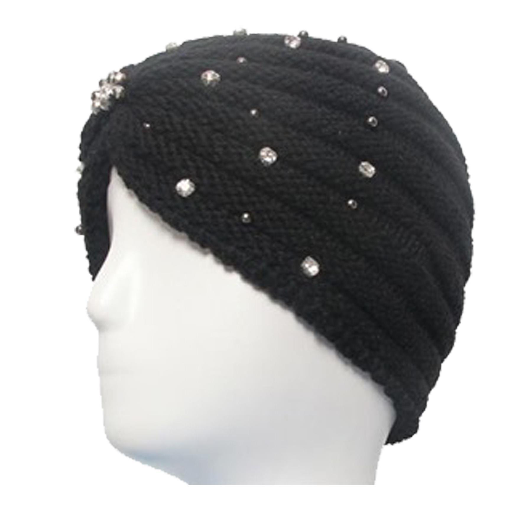 New-Women-s-Pleated-Knitted-Acrylic-Jewel-Detail-Headwear-Turban-Cap thumbnail 12