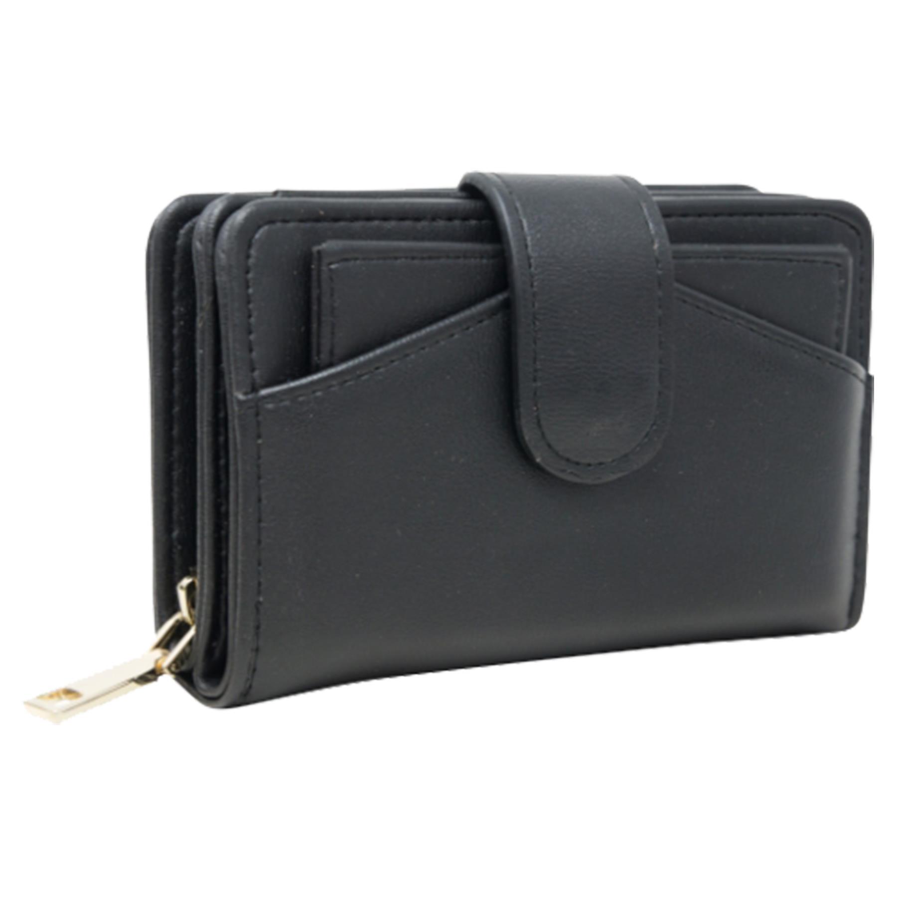 New-Ladies-Card-Slots-Zipped-Pocket-Faux-Leather-Basic-Wallet-Purse thumbnail 3