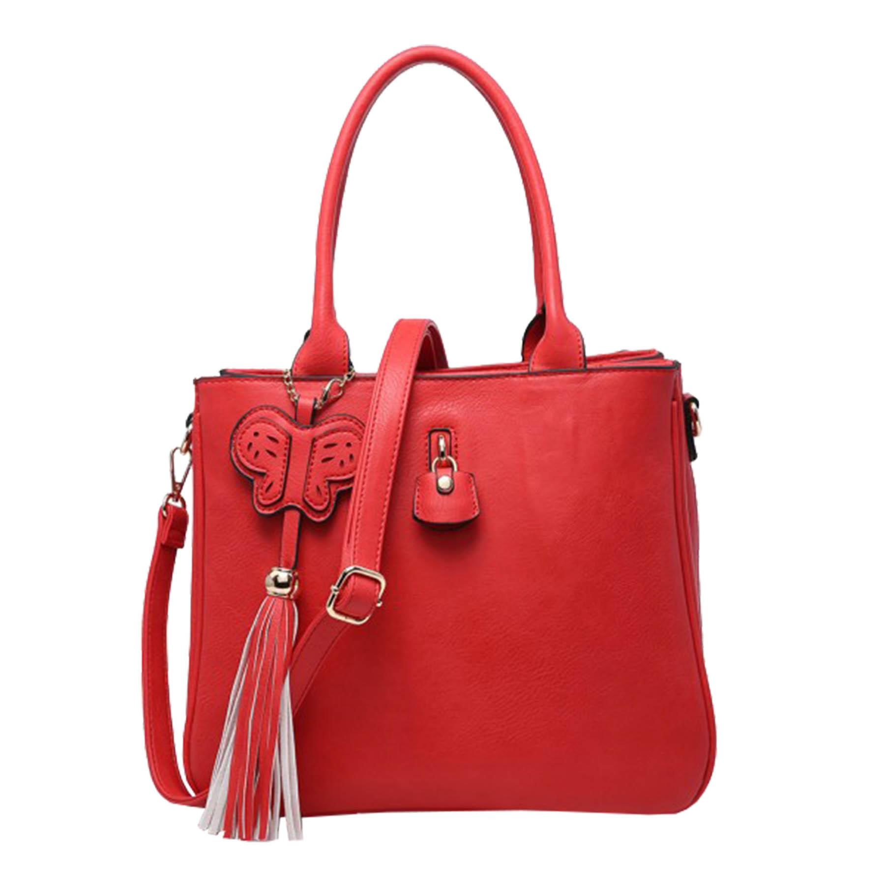 New-Synthetic-Leather-Butterfly-Tassel-Charm-Women-s-Shoulder-Tote-Bag thumbnail 8