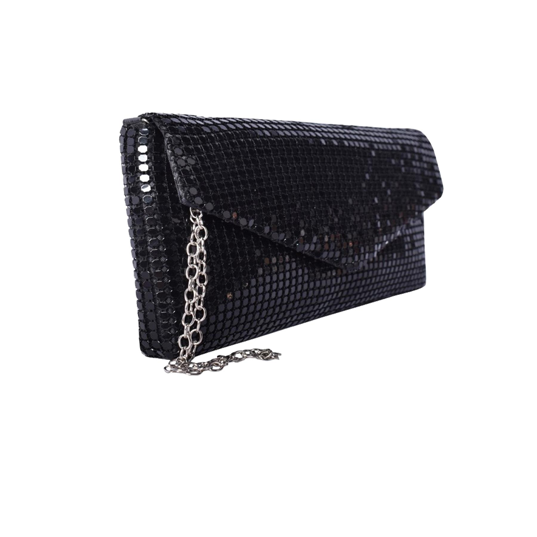 New-Ladies-Chainmail-Faux-Leather-Chain-Strap-Wedding-Clutch-Bag-Pouch thumbnail 18