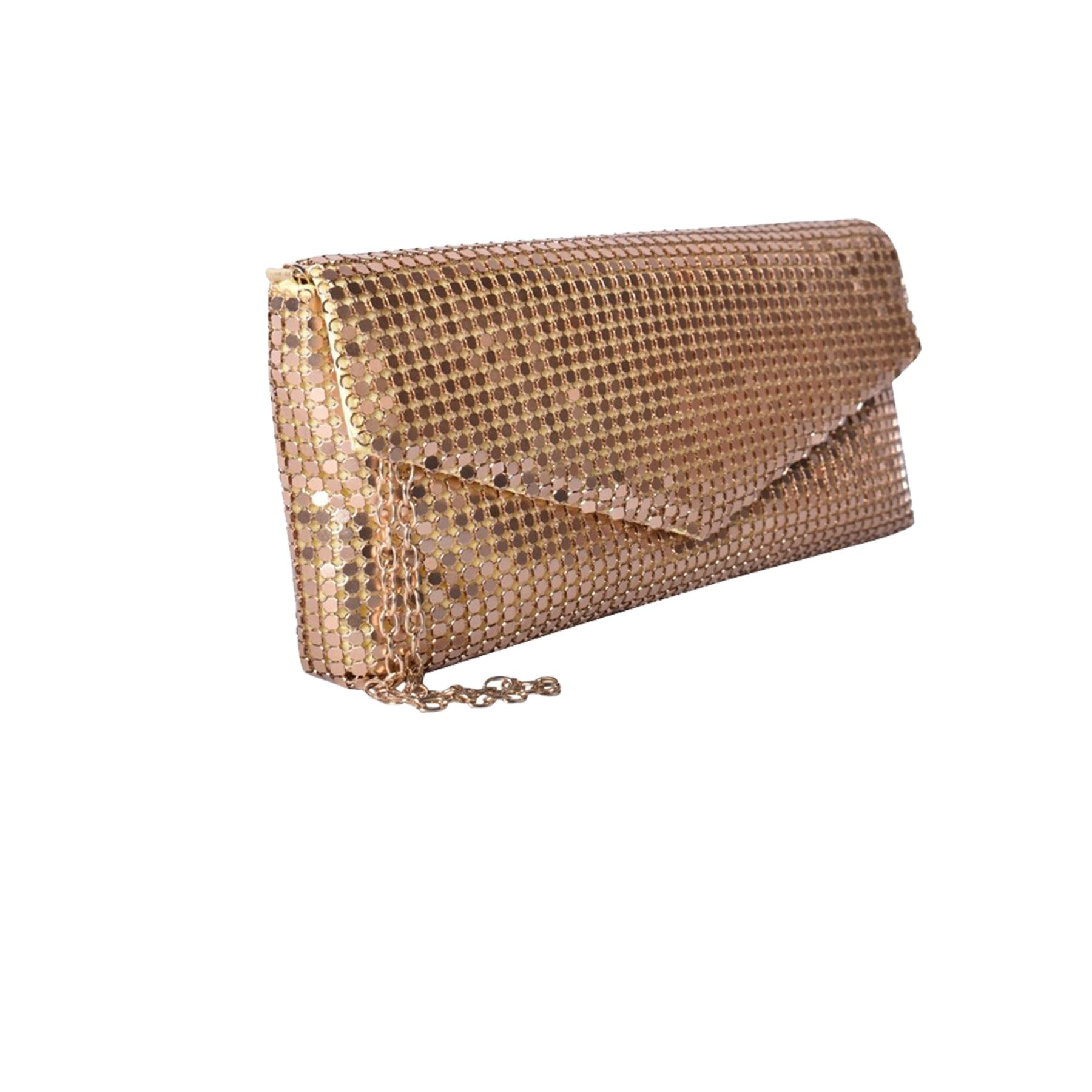 New-Ladies-Chainmail-Faux-Leather-Chain-Strap-Wedding-Clutch-Bag-Pouch thumbnail 21