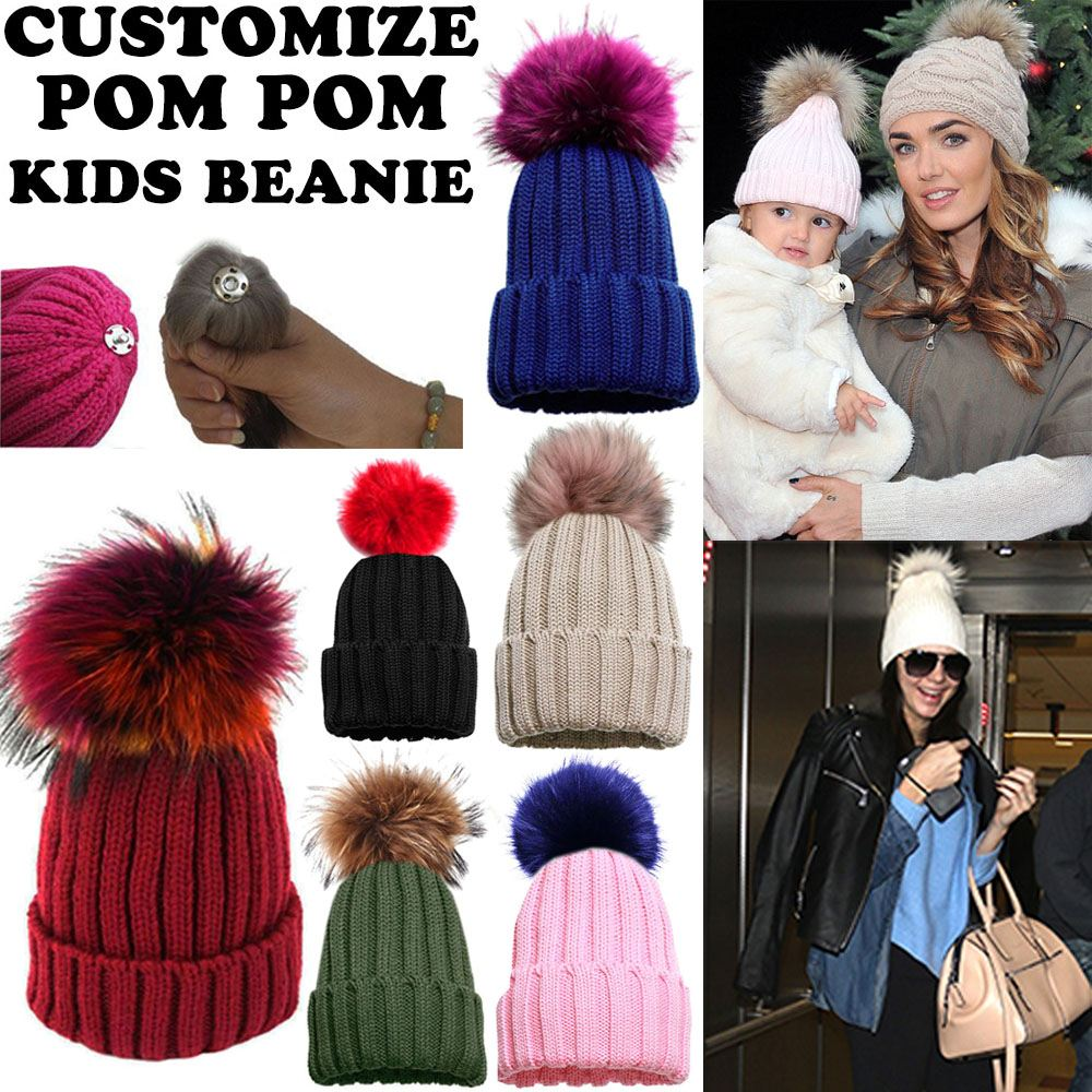 f354dd7fd5d86c KIDS DETACHABLE COLOURED FAUX FUR POM POM KNITTED WINTER BEANIE HAT ...