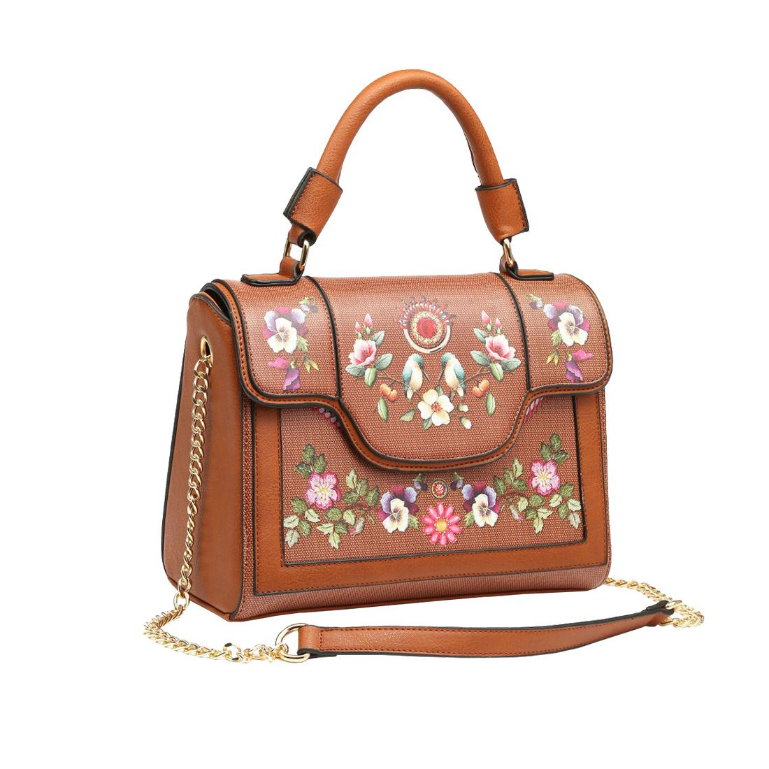 New-Synthetic-Leather-Kingfisher-Flower-Print-Ladies-Tote-Bag-Handbag thumbnail 4