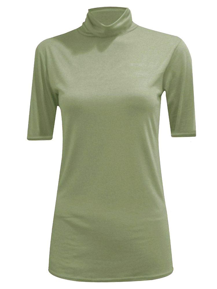 New-Women-s-Half-Sleeve-Plain-Polo-Roll-Neck-Top-Blouse-UK-8-26 thumbnail 10