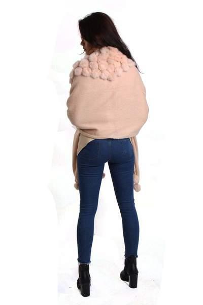 New-Women-s-Genuine-Fur-Pom-Pom-Detail-Tassels-Winter-Shawl-Cape thumbnail 19