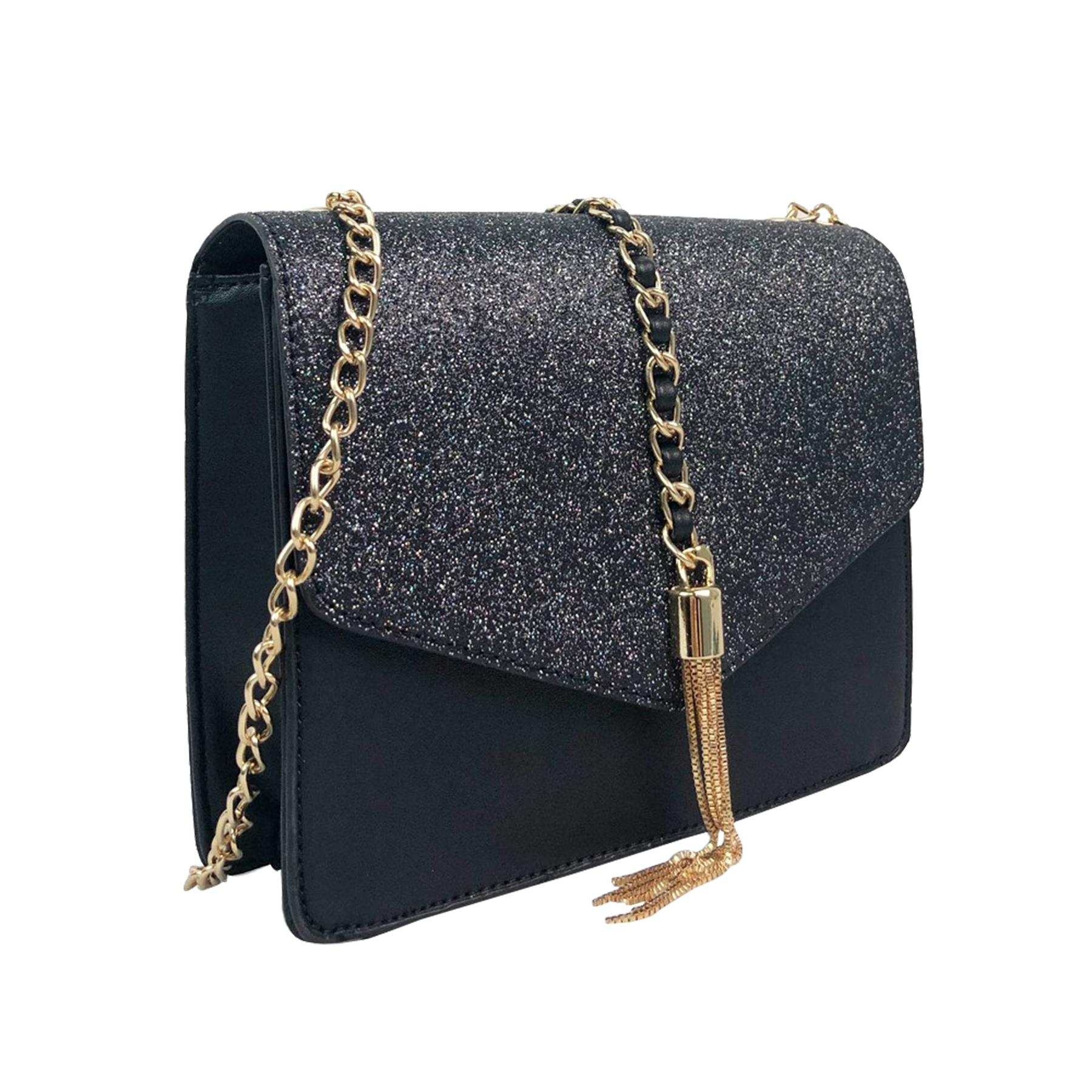 New-Glitter-Chain-Tassel-Decoration-Ladies-Party-Stylish-Clutch-Shoulder-Bags thumbnail 6