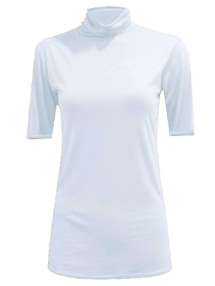 New-Women-s-Half-Sleeve-Plain-Polo-Roll-Neck-Top-Blouse-UK-8-26 thumbnail 7