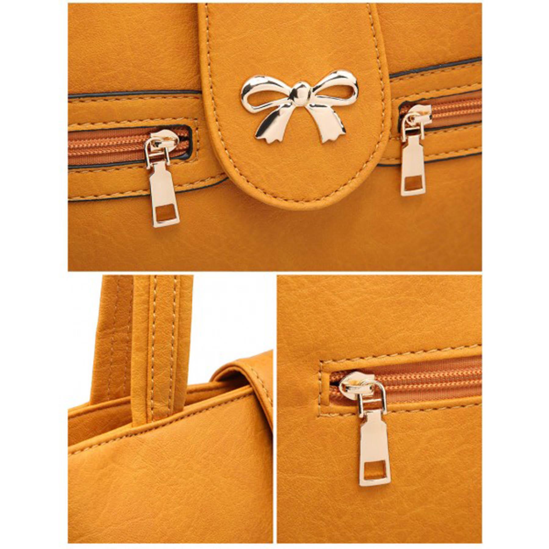 New-Women-s-Metallic-Bow-Decoration-Faux-Leather-Shopper-Shoulder-Tote-Bag thumbnail 11