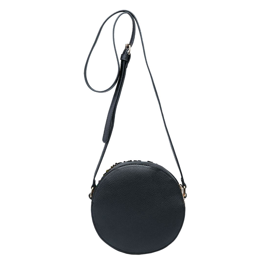 New Faux Leather Sequin Detail Ladies Fashion Round Crossbody Bag