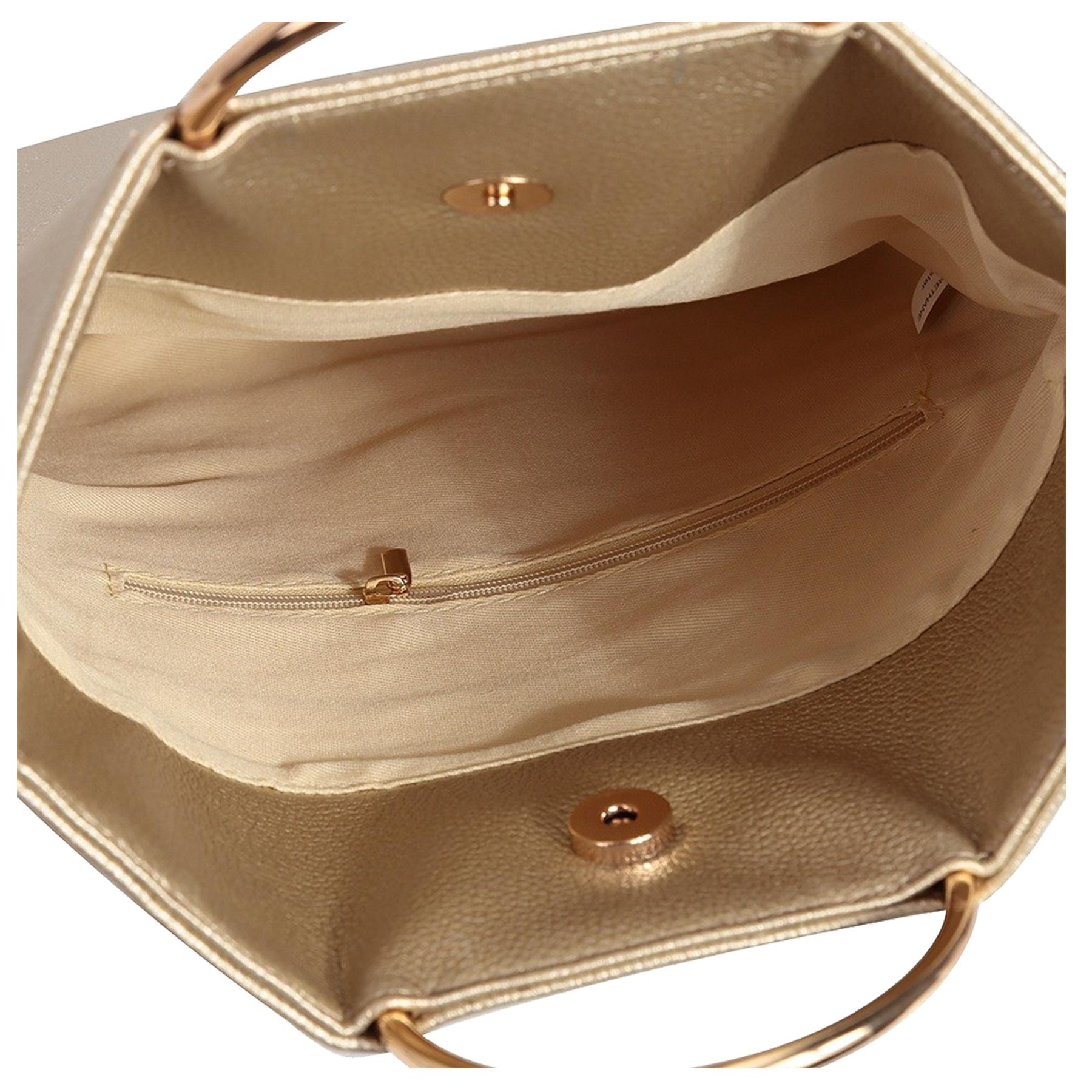 New-Women-s-Metallic-Ring-Top-Handles-Faux-Leather-Evening-Clutch-Bag thumbnail 10