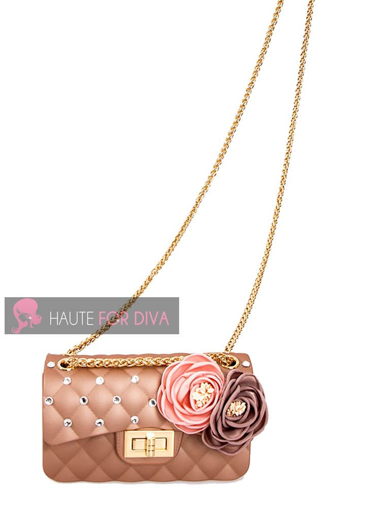 Womens pink 3d Gold Handbag Black New Strap Quilted Jelly Ladies Chain Flower Diamante SXxrpUSqn7