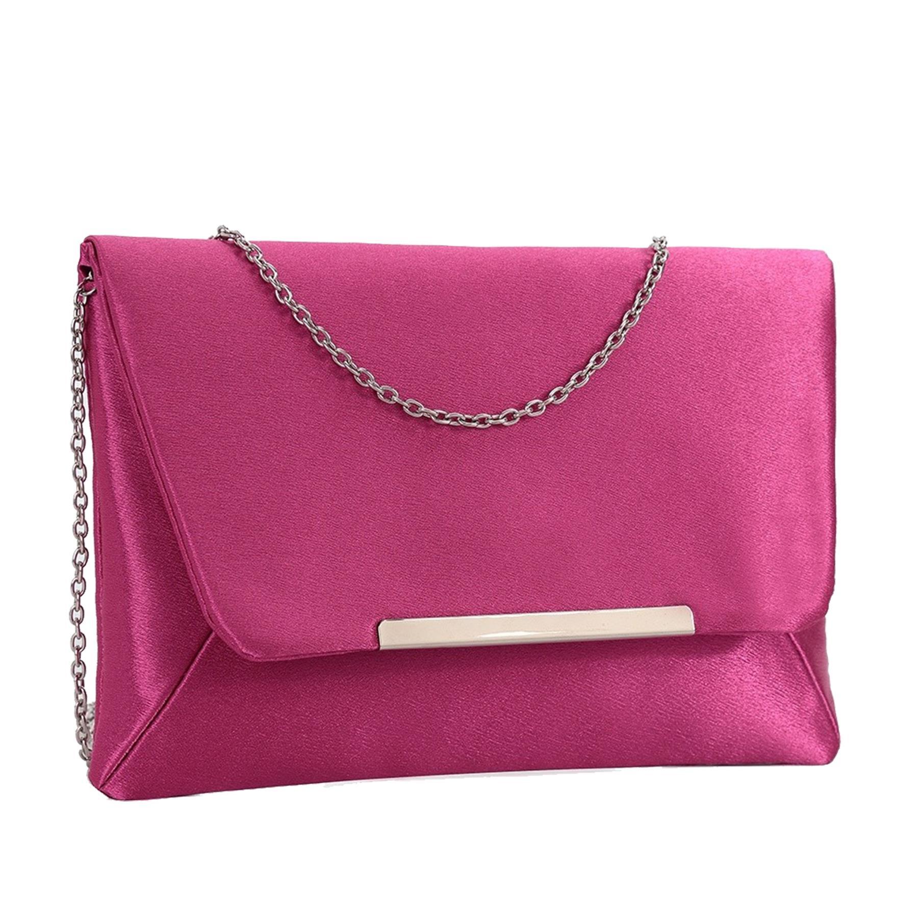 New-Ladies-Satin-Envelope-Metallic-Trim-Bridal-Wedding-Prom-Clutch-Bag thumbnail 12