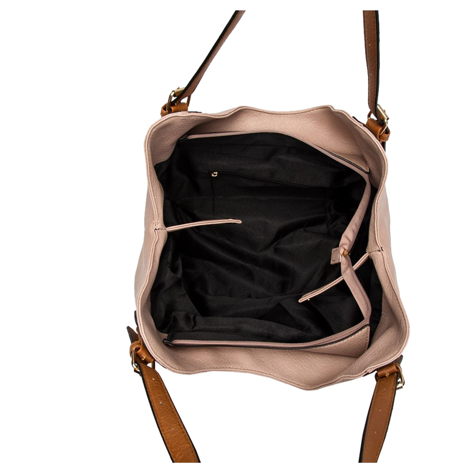 New-Ladies-Buckled-Straps-Two-Toned-Faux-Leather-Slouchy-Shoulder-Bag thumbnail 13