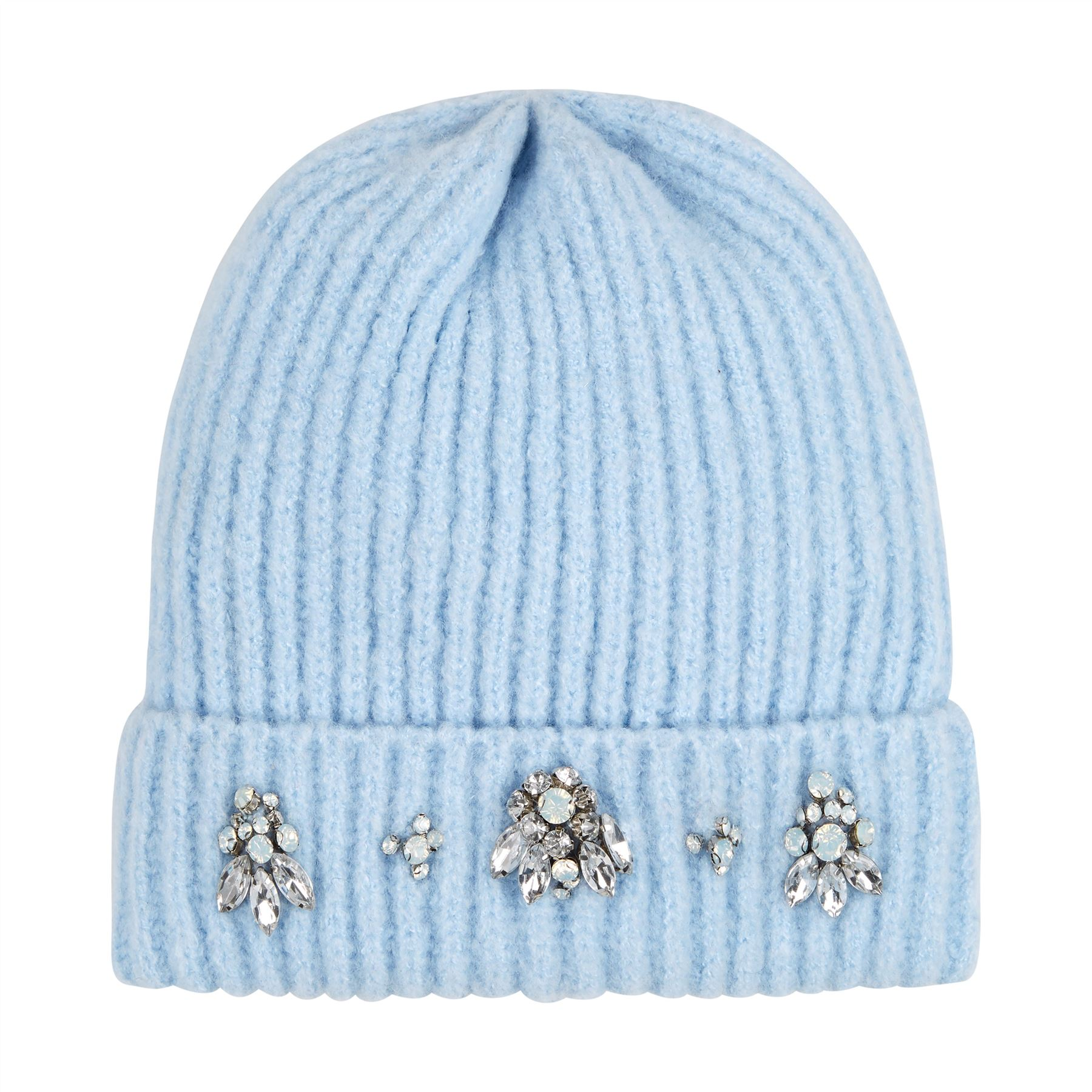 Image of Embellished Chunky Knit Beanie - Baby Blue - One Size