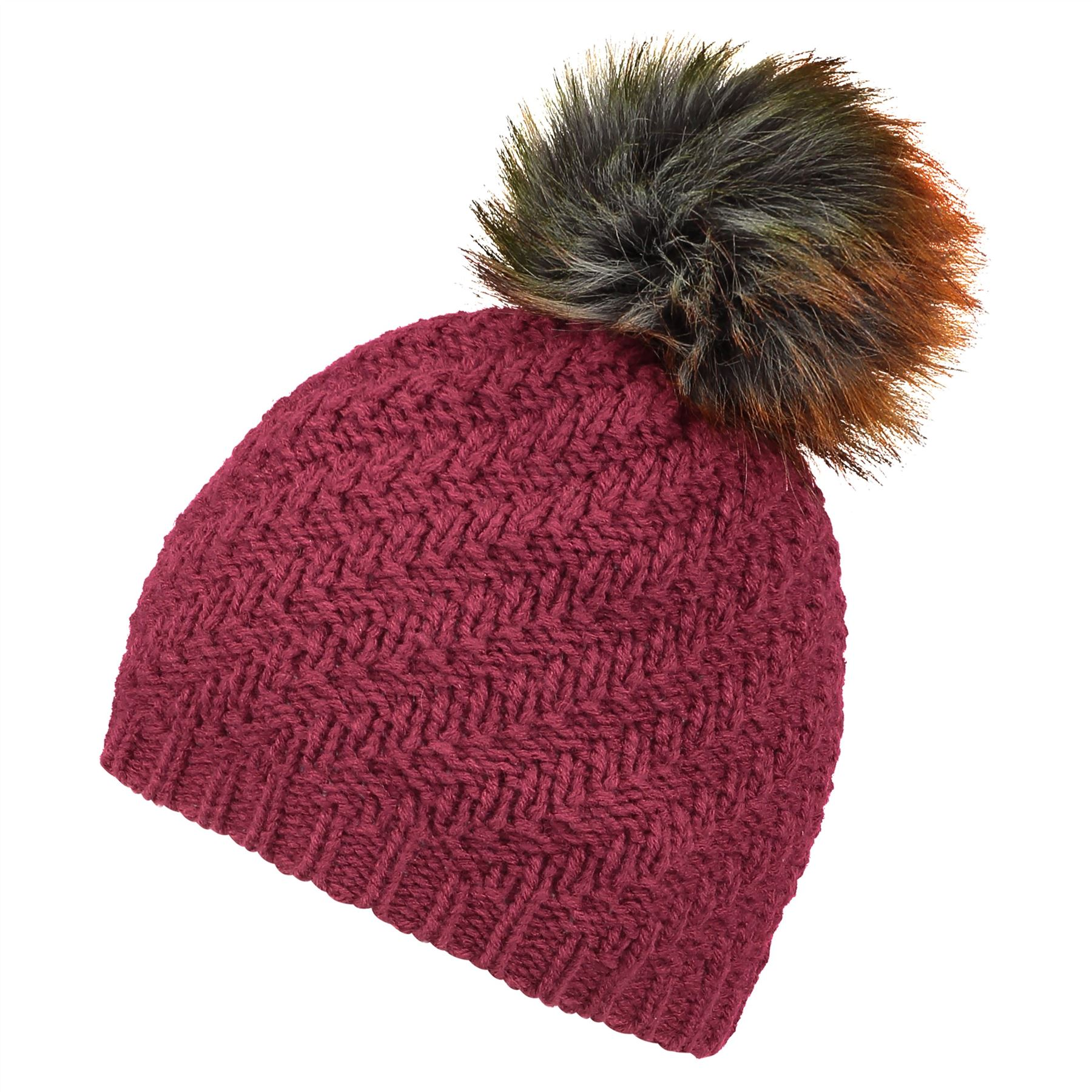Image of Faux Fur Pom Beanie Hat - Classic Burgundy - One Size
