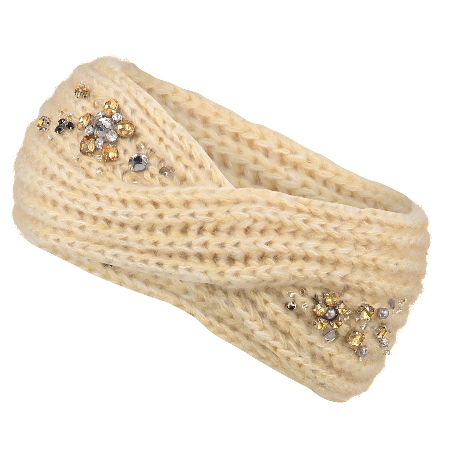 Image of Embellished Twist Knit Headband - Cream - One Size