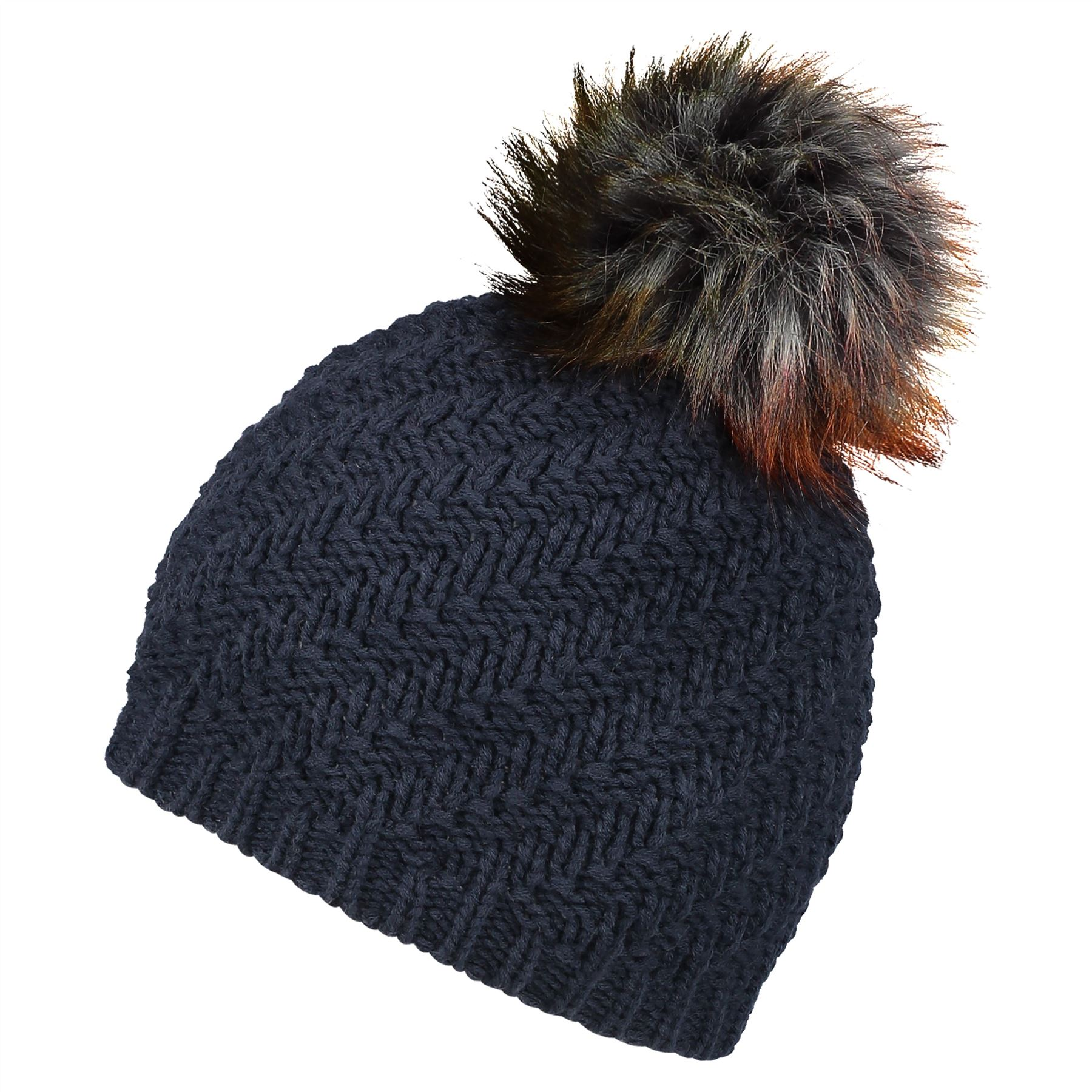 Image of Faux Fur Pom Beanie Hat - Classic Navy - One Size