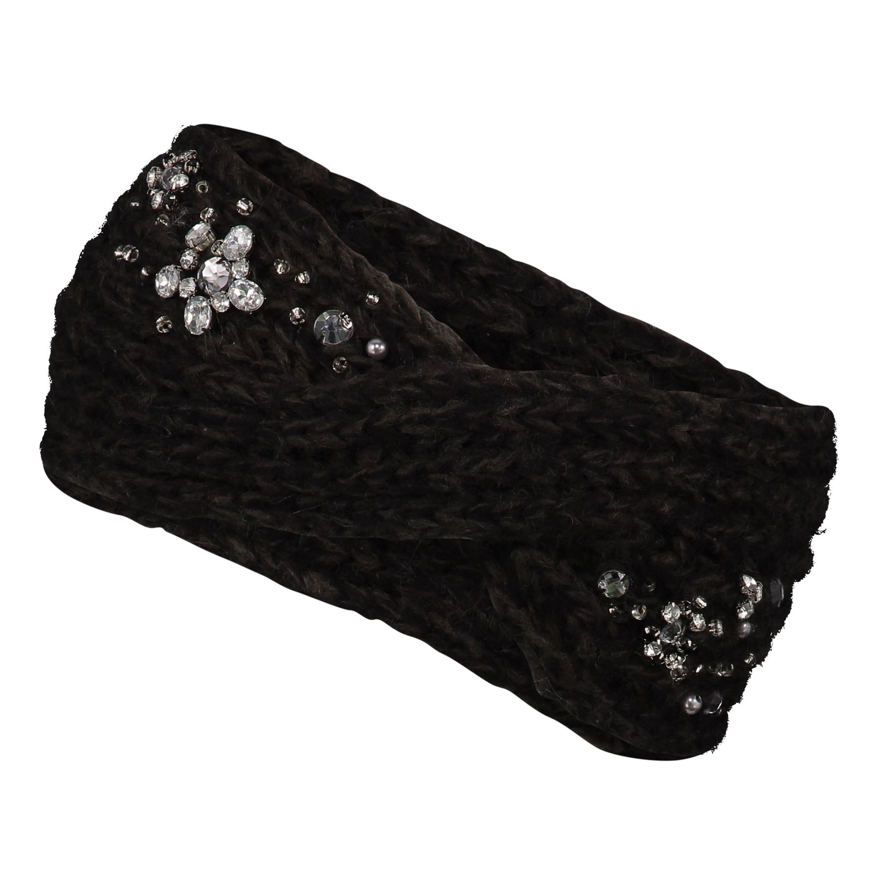Image of Embellished Twist Knit Headband - Black - One Size