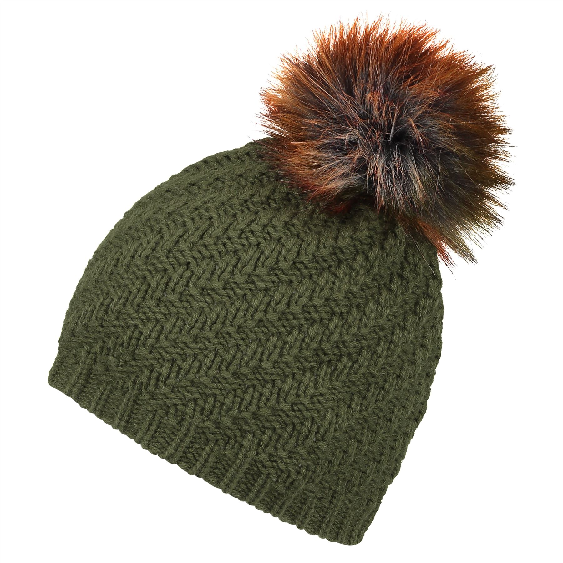 Image of Faux Fur Pom Beanie Hat - Classic Khaki - One Size
