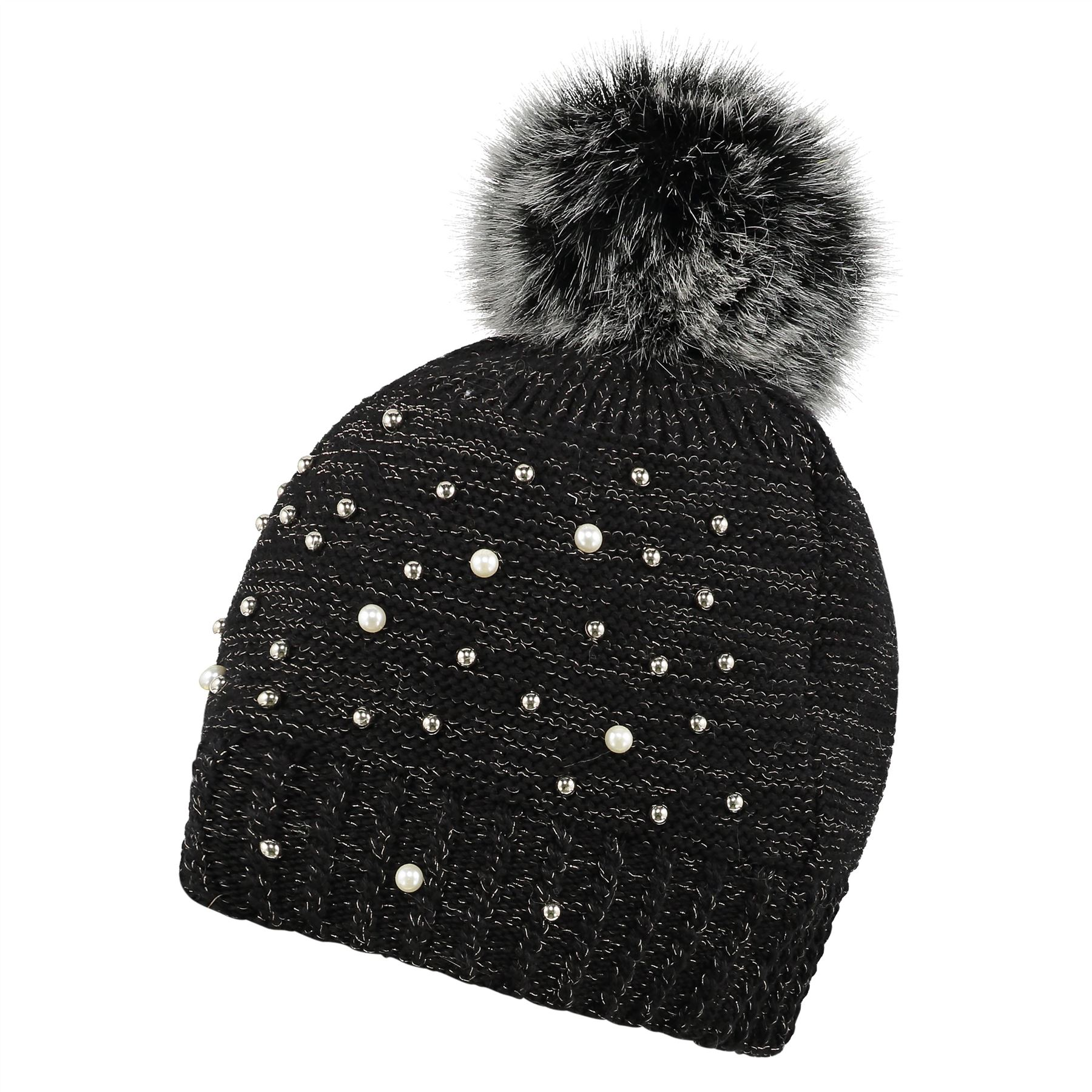 Image of Embellished Beanie and Handwarmer Set - Black - One Size