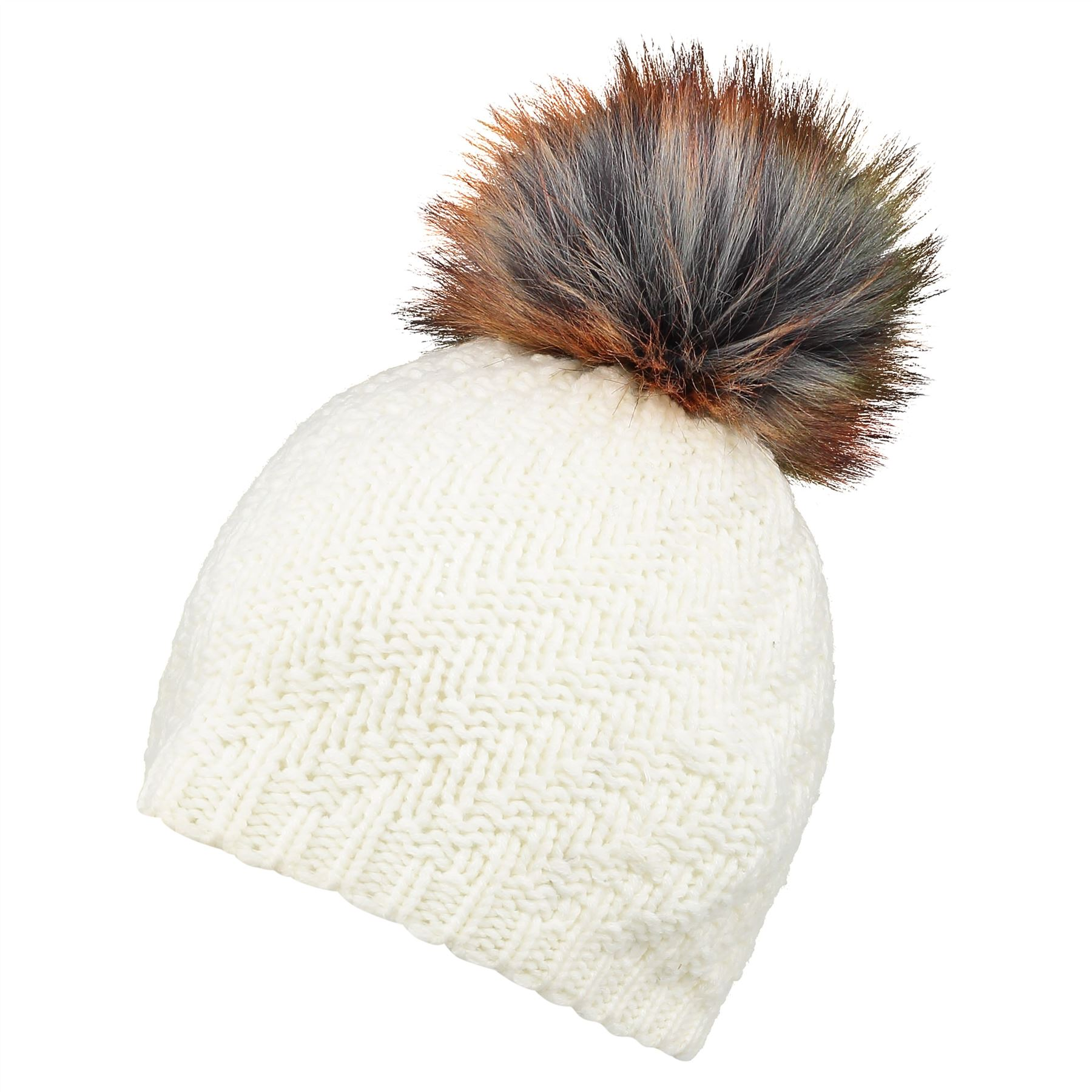 Image of Faux Fur Pom Beanie Hat - Classic Cream - One Size