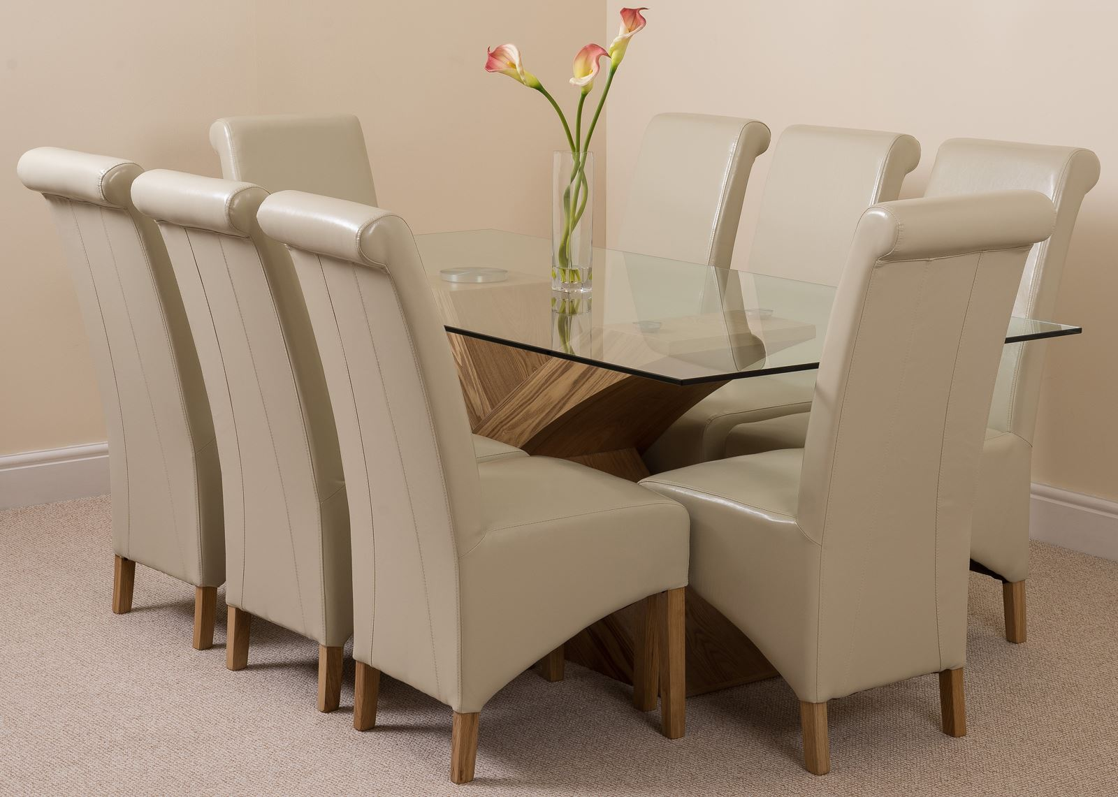Valencia large oak 200cm modern glass dining table 8 for Modern oak dining table