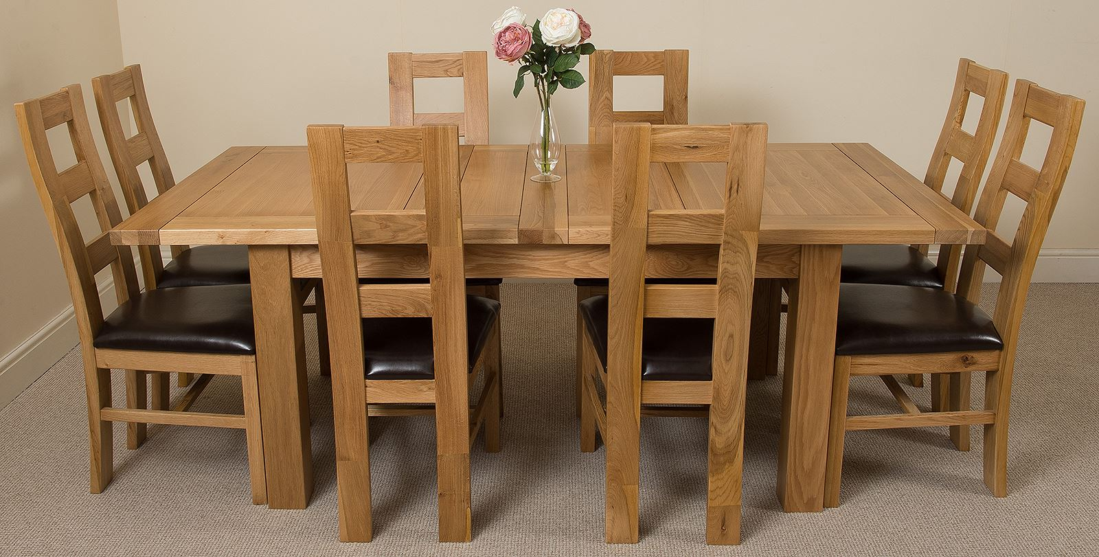 Seattle extending kitchen solid oak dining table 8 solid for Leather kitchen table chairs