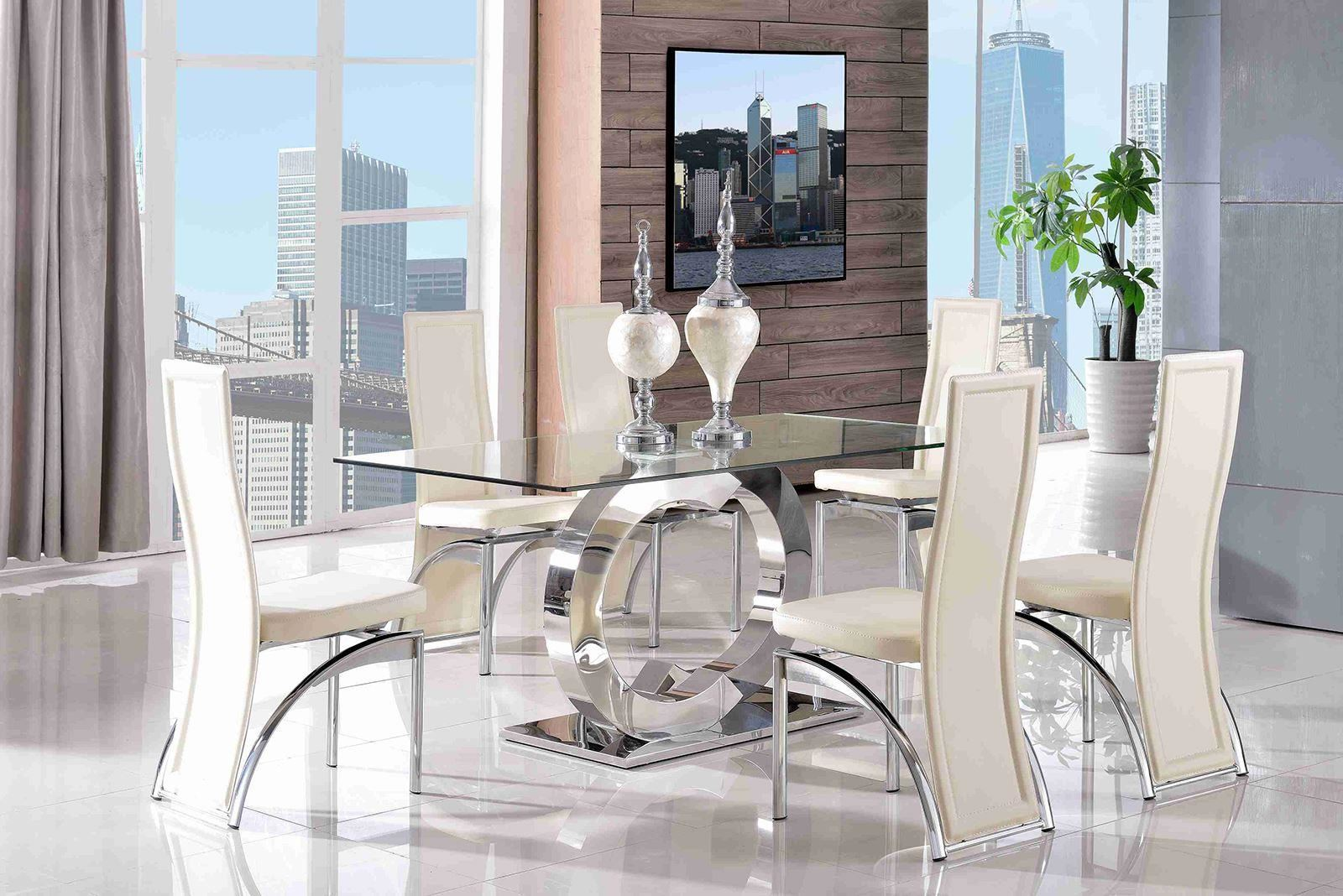 Channel 160cm Steel U0026 Clear Glass Dining Table And 6 Faux Leather Ivory  Chairs Part 37