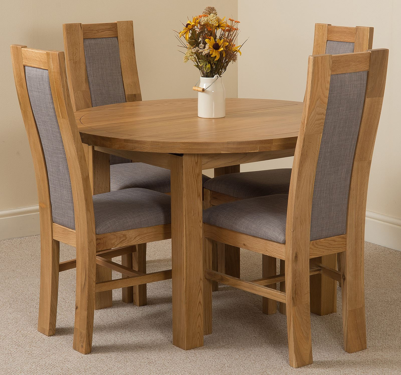 Edmonton Extending Oval Solid Oak Dining Table 4 Fabric Chairs