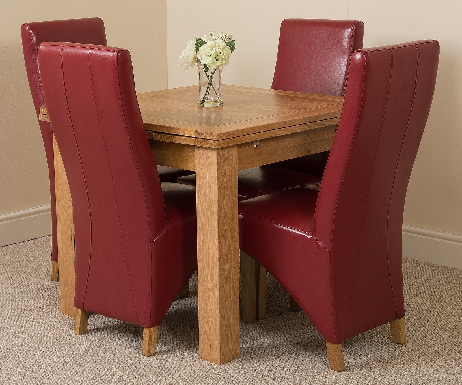 Richmond Small Extending Solid Oak Dining Table and 4 Red ...