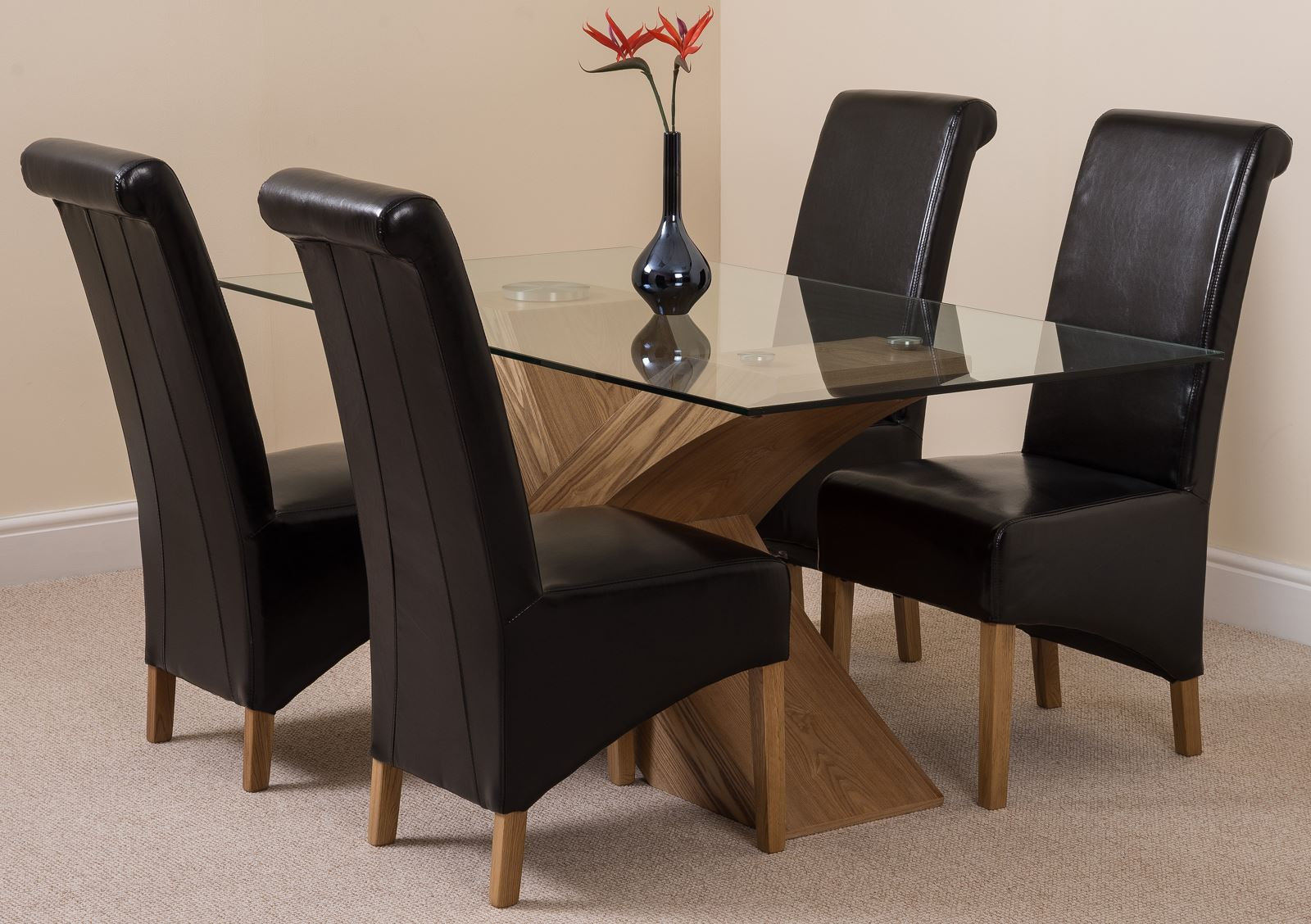 Valencia small oak 160cm modern glass dining table 4 for Small dining table and 4 chairs