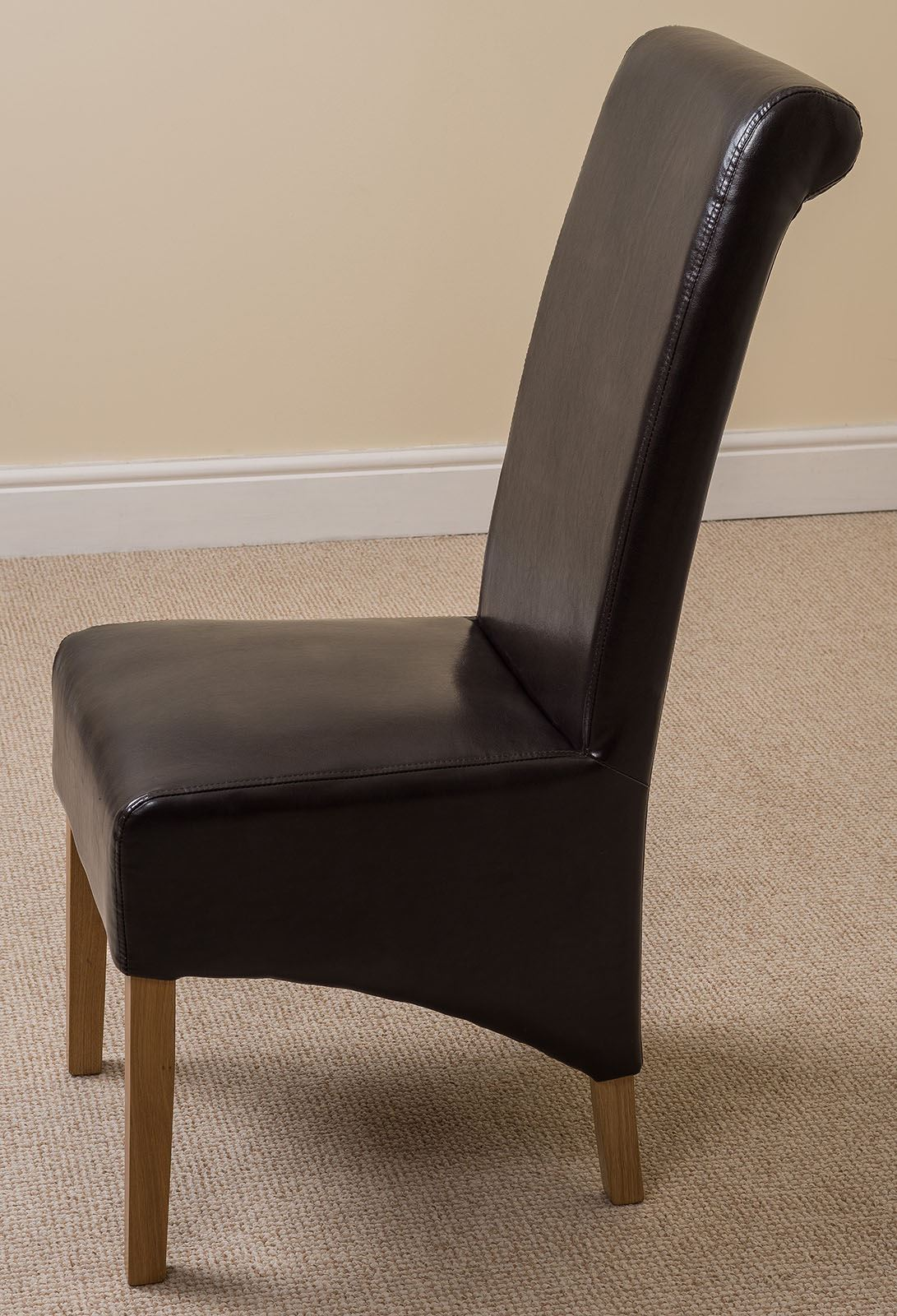 Montana scroll back black leather dining room chairs for Leather back dining chairs