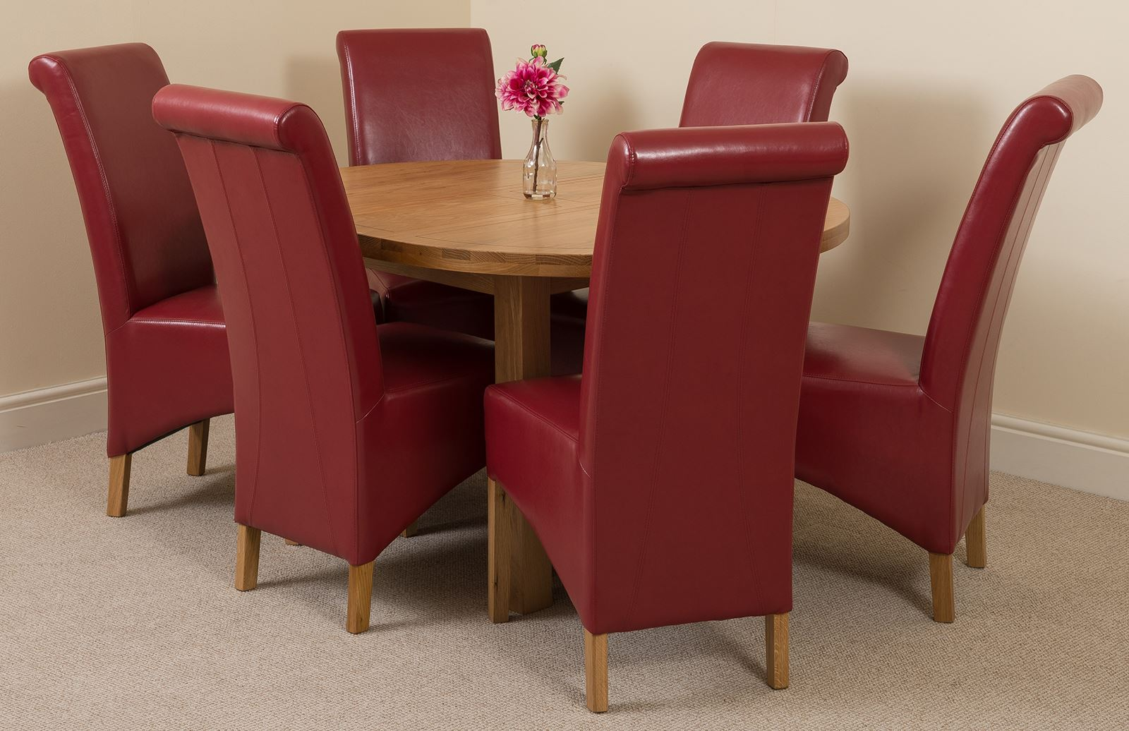Edmonton Extending Oval Solid Oak Dining Table   6 Red Leather ChairsEdmonton Extending Oval Solid Oak Dining Table   6 Red Leather  . Dining Table And 6 Red Leather Chairs. Home Design Ideas