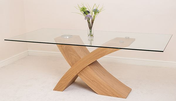VALENCIA Large Oak 200cm Modern Glass Dining Table And 6